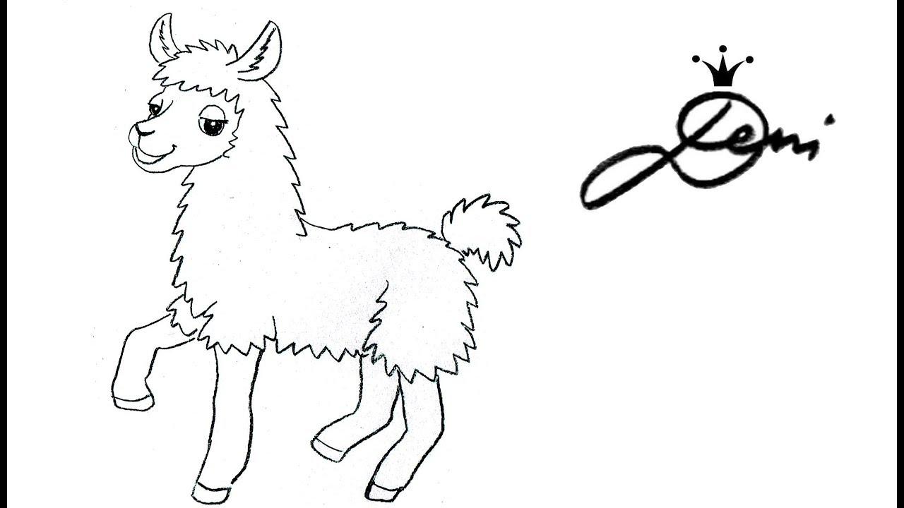 Lama Zeichnen Lernen 🐪 Ganz Einfach Malen 🐪 How To Draw A Llama ✍🏻 Kак  Се Рисува Лама Алпака bei Ganz Einfach Zeichnen Lernen