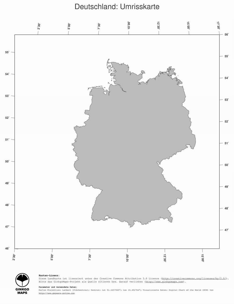 Landkarte Deutschland - Deutschlandkarte - Deutschland Landkarte mit Deutschlandkarte Bundesländer Blanko