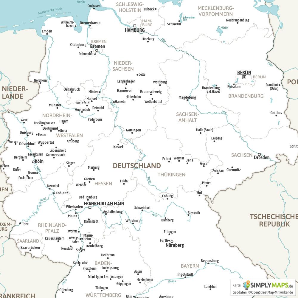 Landkarte Deutschland Politisch (Din A4) [Digital] für Deutschlandkarte Mit Bundesländern Und Städten