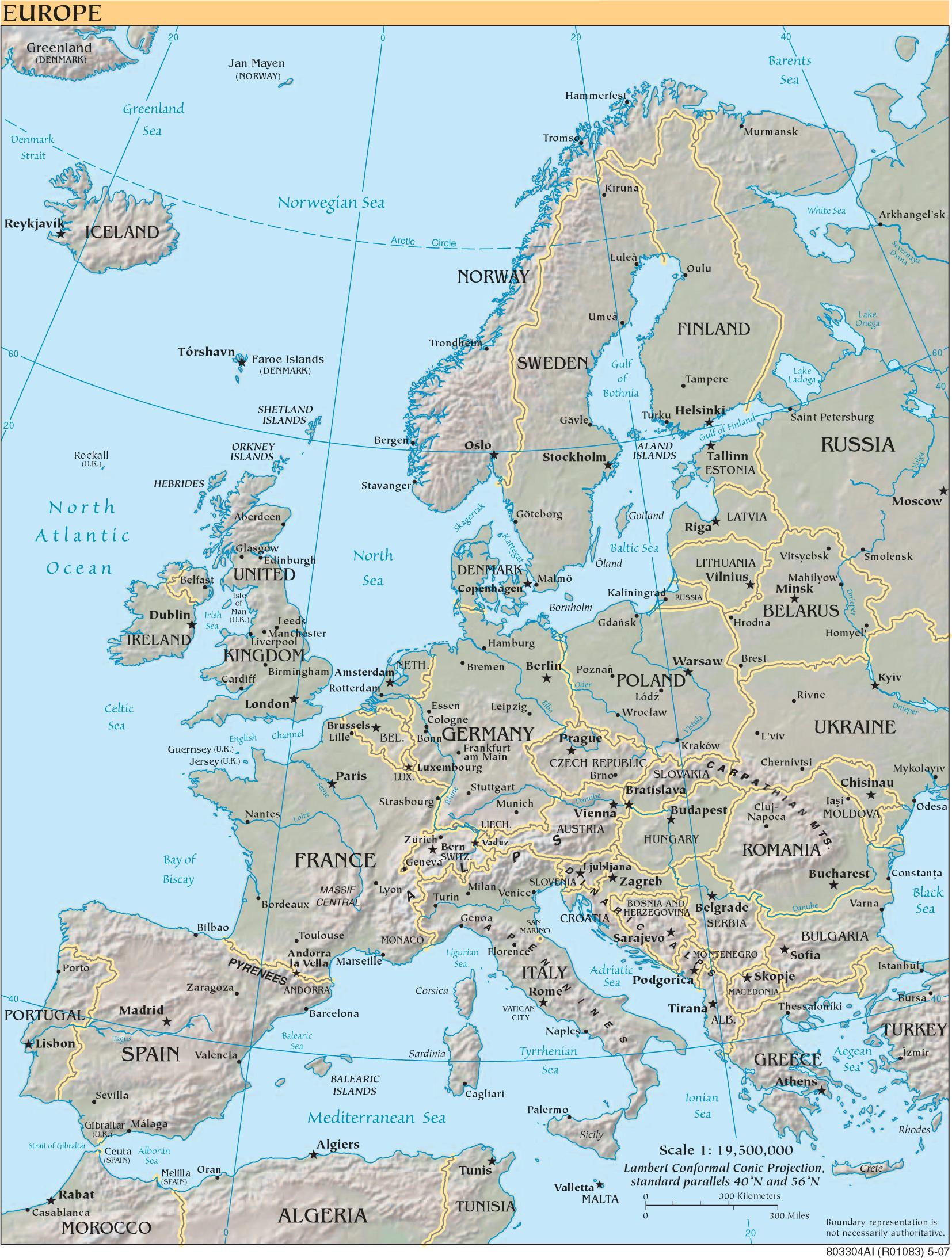 Landkarte Europa - Landkarten Download -> Europakarte ganzes Europakarte Zum Drucken