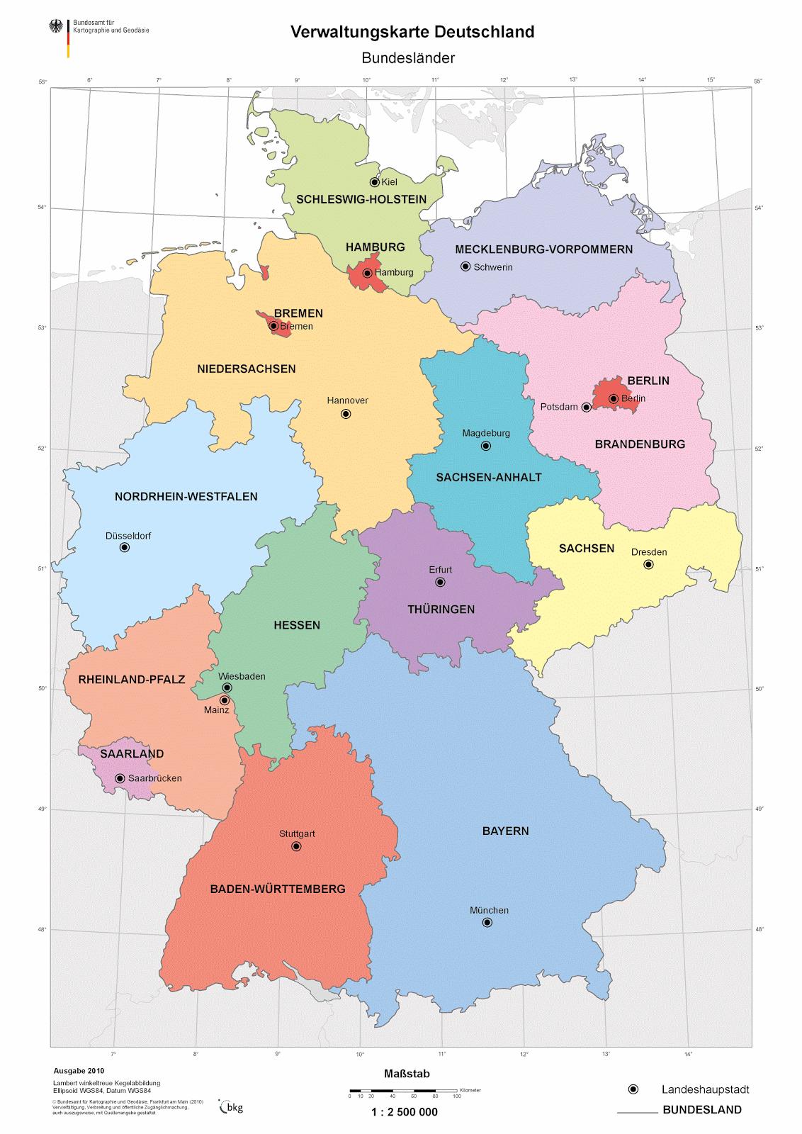 Landkartenblog: Online: Verwaltungskarte Deutschland Der innen Deutschlandkarte Mit Bundesländern Und Städten