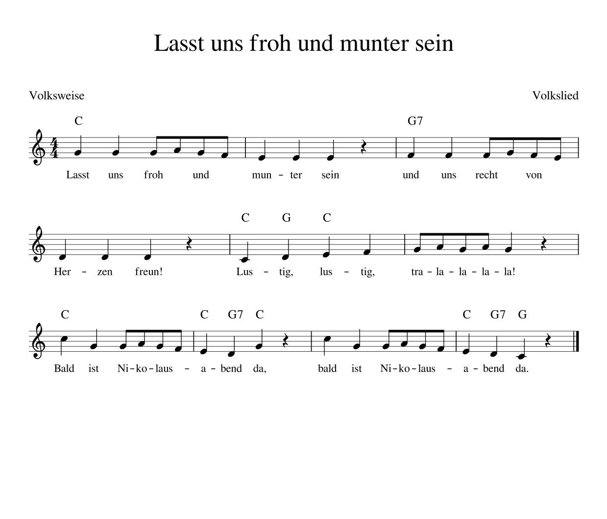 Lasst Uns Froh Und Munter Sein - Kinderlieder - Noten - Text in Lied Lasst Uns Froh Und Munter Sein