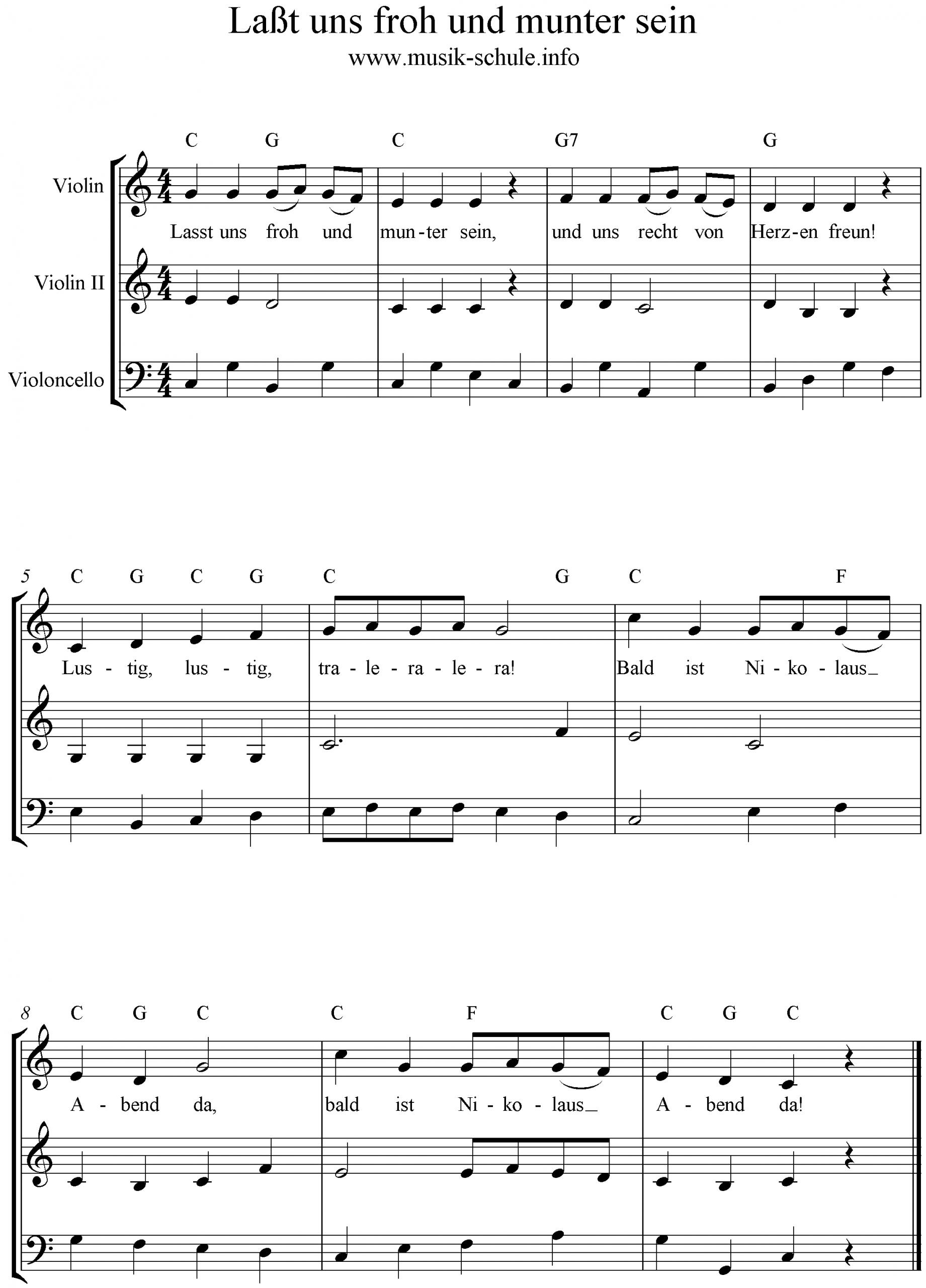 Laßt Uns Froh Und Munter Sein über Lied Lasst Uns Froh Und Munter Sein