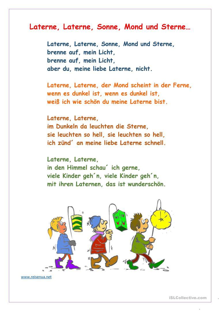 Laterne, Laterne, Sonne, Mond Und Sterne - Deutsch Daf bestimmt für Laterne Sonne Mond Und Sterne Text