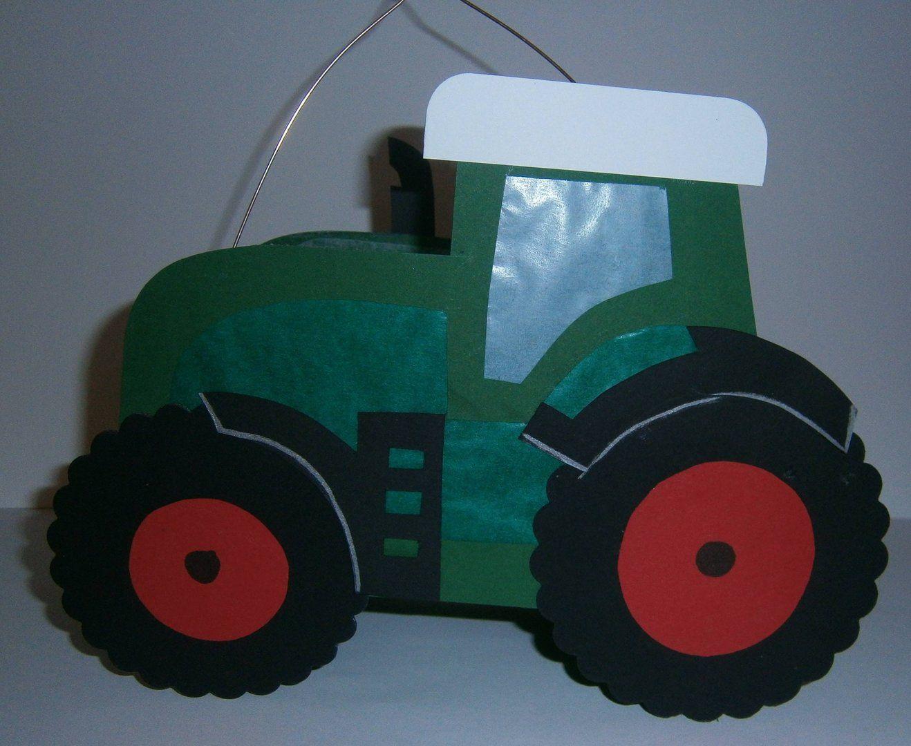 Laterne Traktor Dunkelgrün-Rot (Mit Bildern) | Laterne bestimmt für Trecker Bastelvorlage