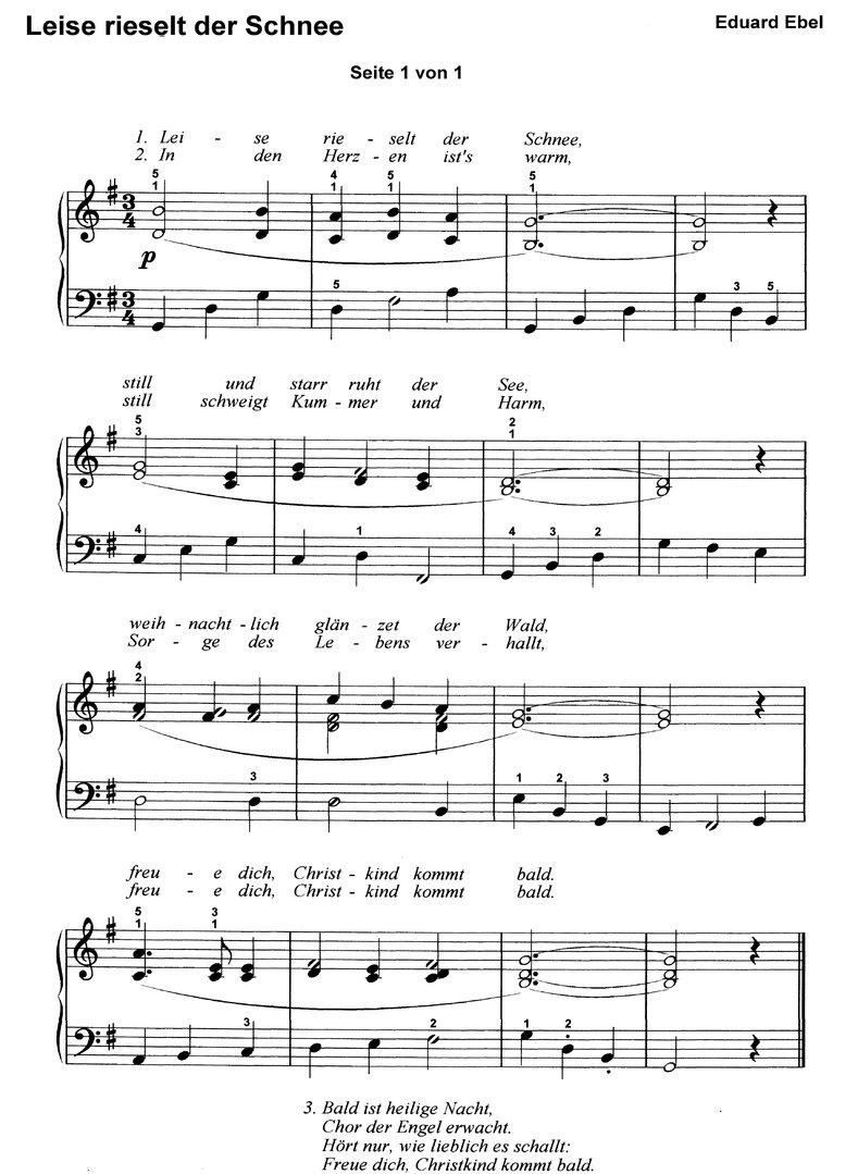 Leise Rieselt Der Schnee In 7 Var. - Klaviernoten Download mit Leise Rieselt Der Schnee Noten Keyboard
