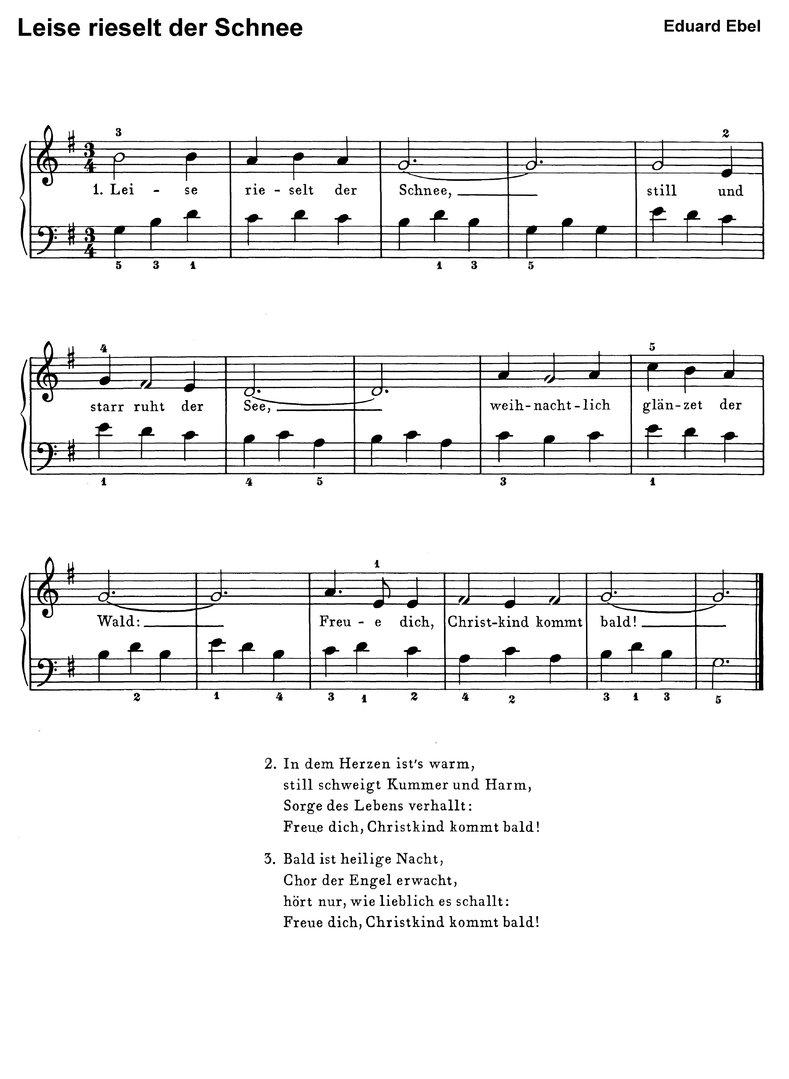 Leise Rieselt Der Schnee In 7 Var. - Klaviernoten Download über Leise Rieselt Der Schnee Noten Keyboard