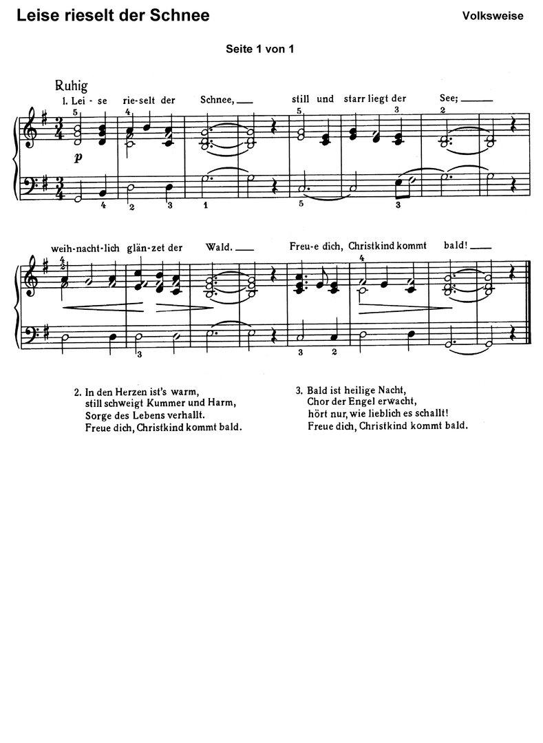 Leise Rieselt Der Schnee In 7 Var. - Klaviernoten verwandt mit Leise Rieselt Der Schnee Noten Keyboard