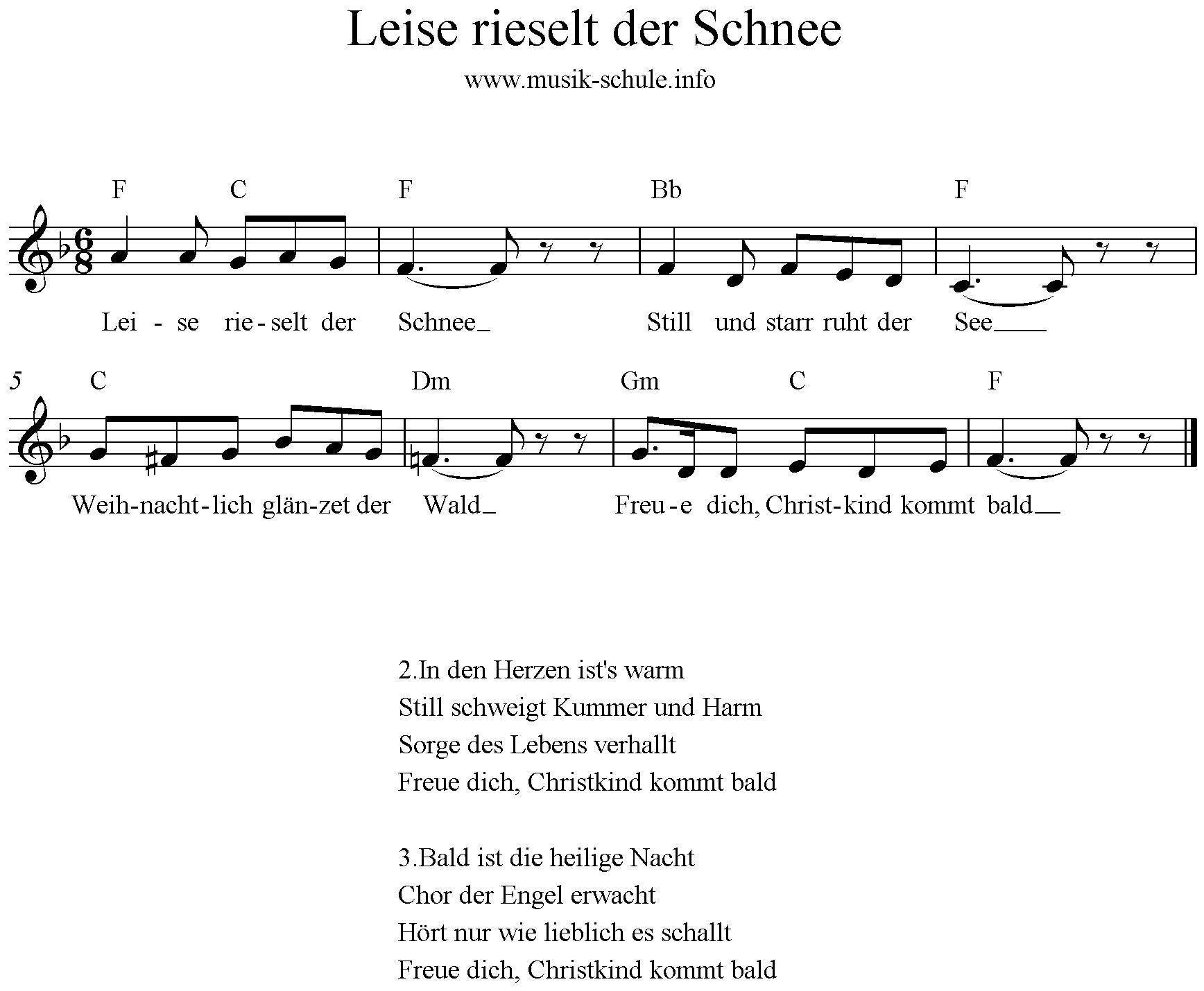 Leise Rieselt Der Schnee* (Mit Bildern) | Kinder Lied ganzes Leise Rieselt Der Schnee Noten Keyboard