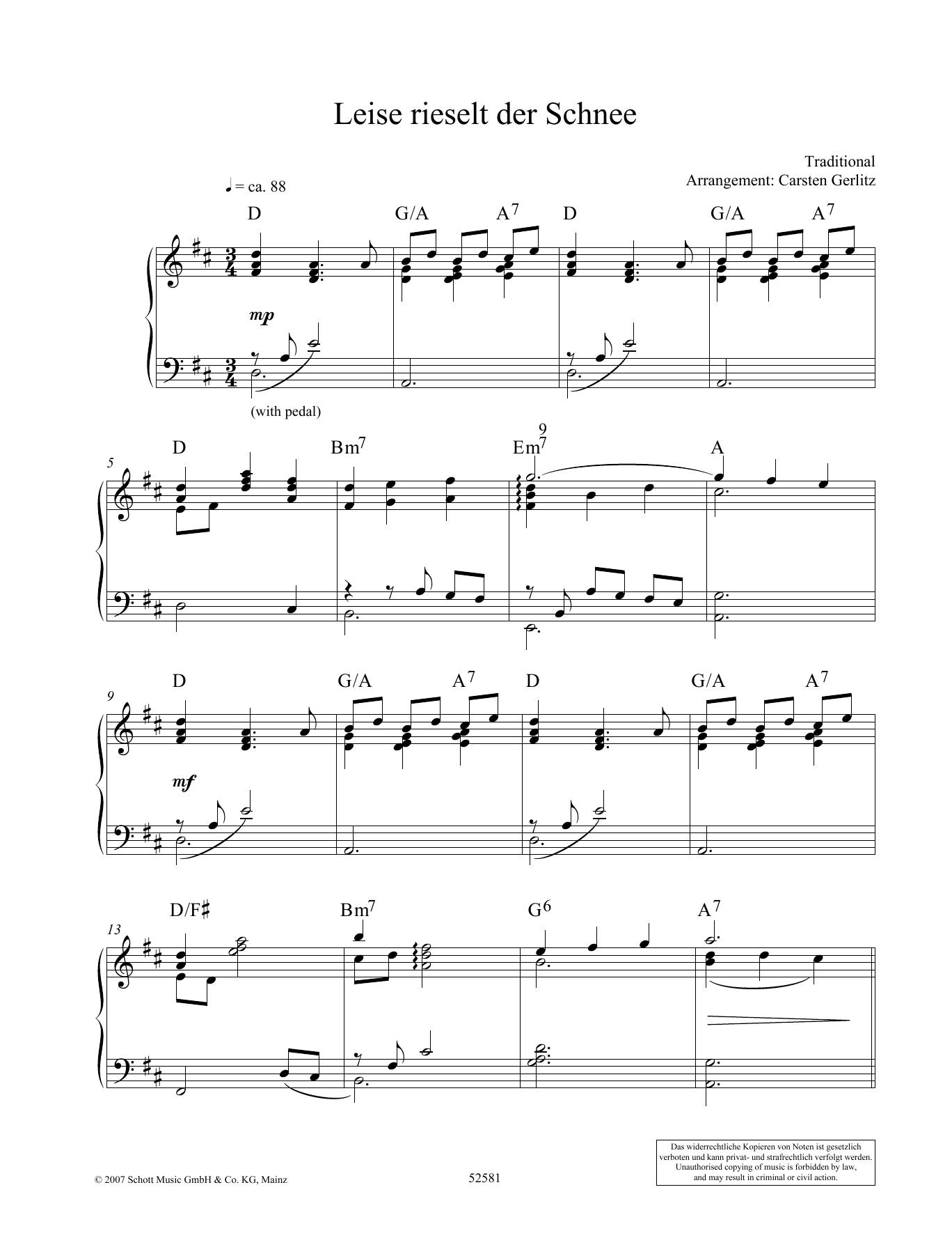 Leise Rieselt Der Schnee Noten | Carsten Gerlitz | Klavier Solo verwandt mit Leise Rieselt Der Schnee Noten Keyboard
