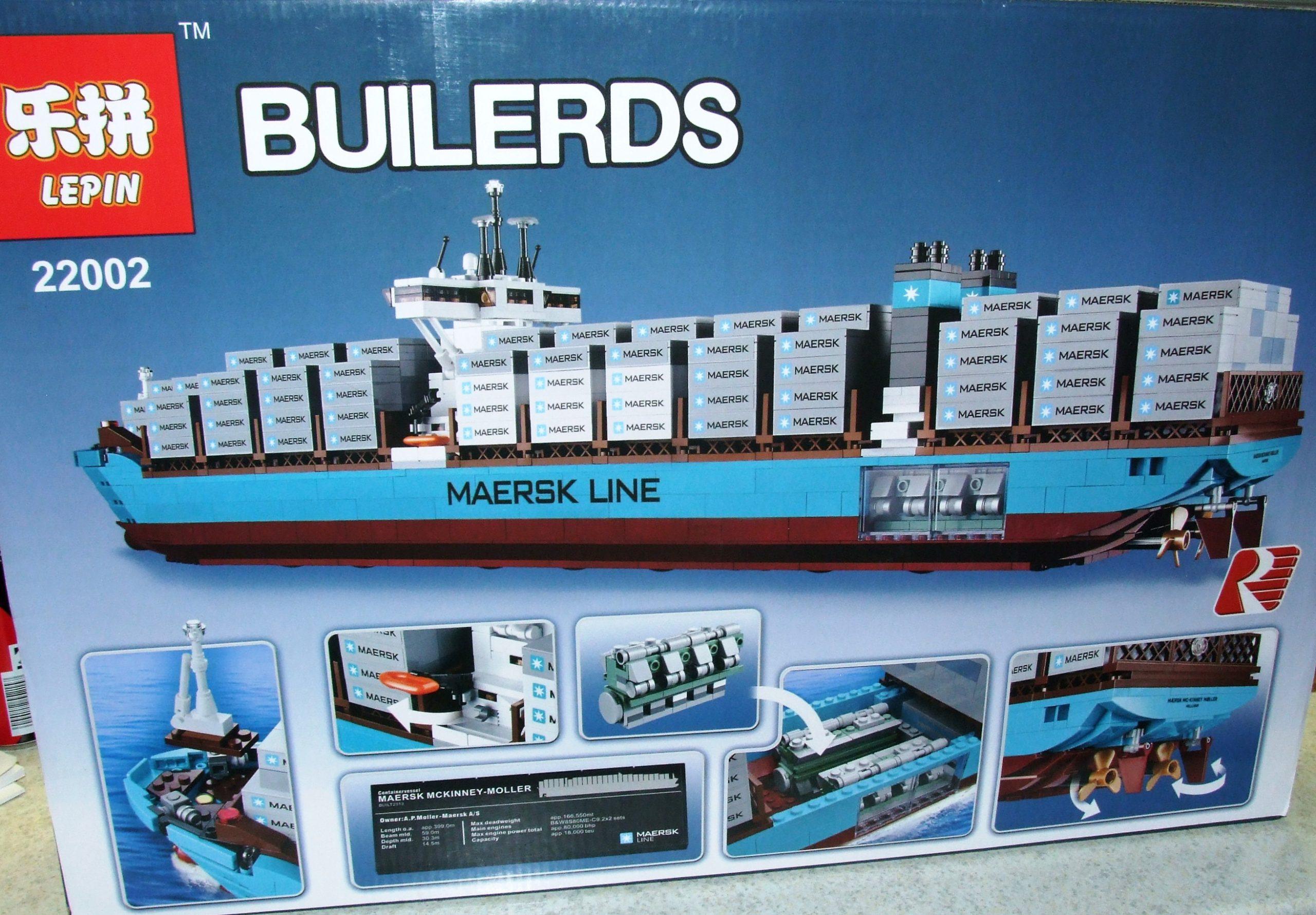 Lepin 22002 Bausatz Großes Containerschiff Maersk bei Playmobil Containerschiff