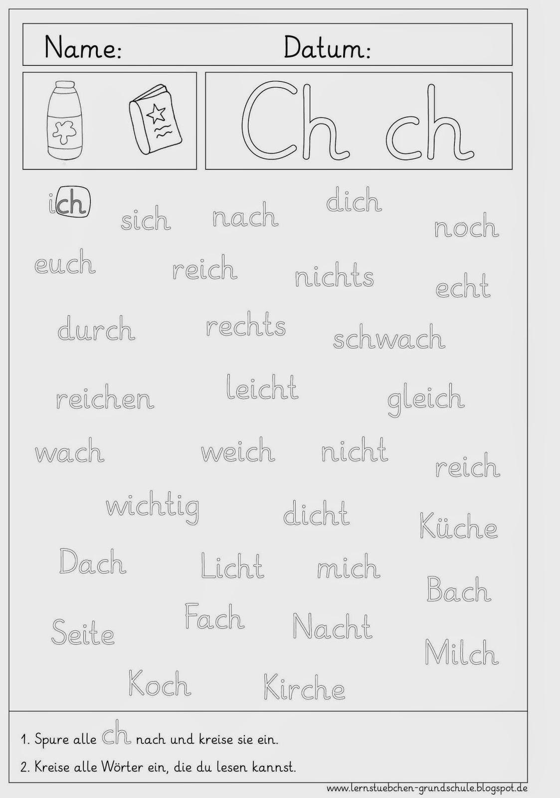 Lernstübchen: Arbeitsblätter Zum Ch - Ch mit Arbeitsblatt Schreiben Klasse 1