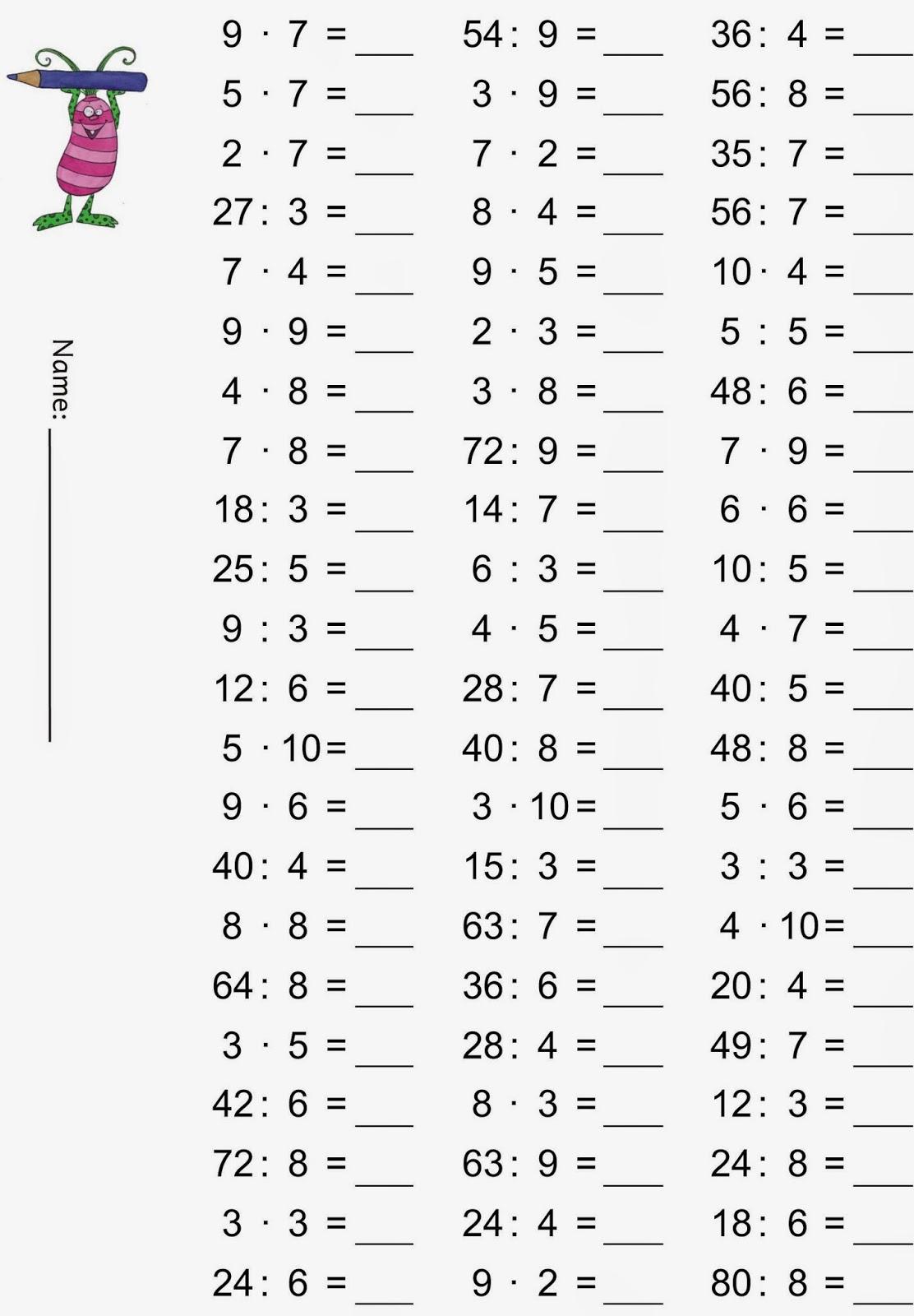 Lernstübchen: Einmaleins - Gemischte Übungsaufgaben mit Mathematikaufgaben 1 Klasse Zum Ausdrucken