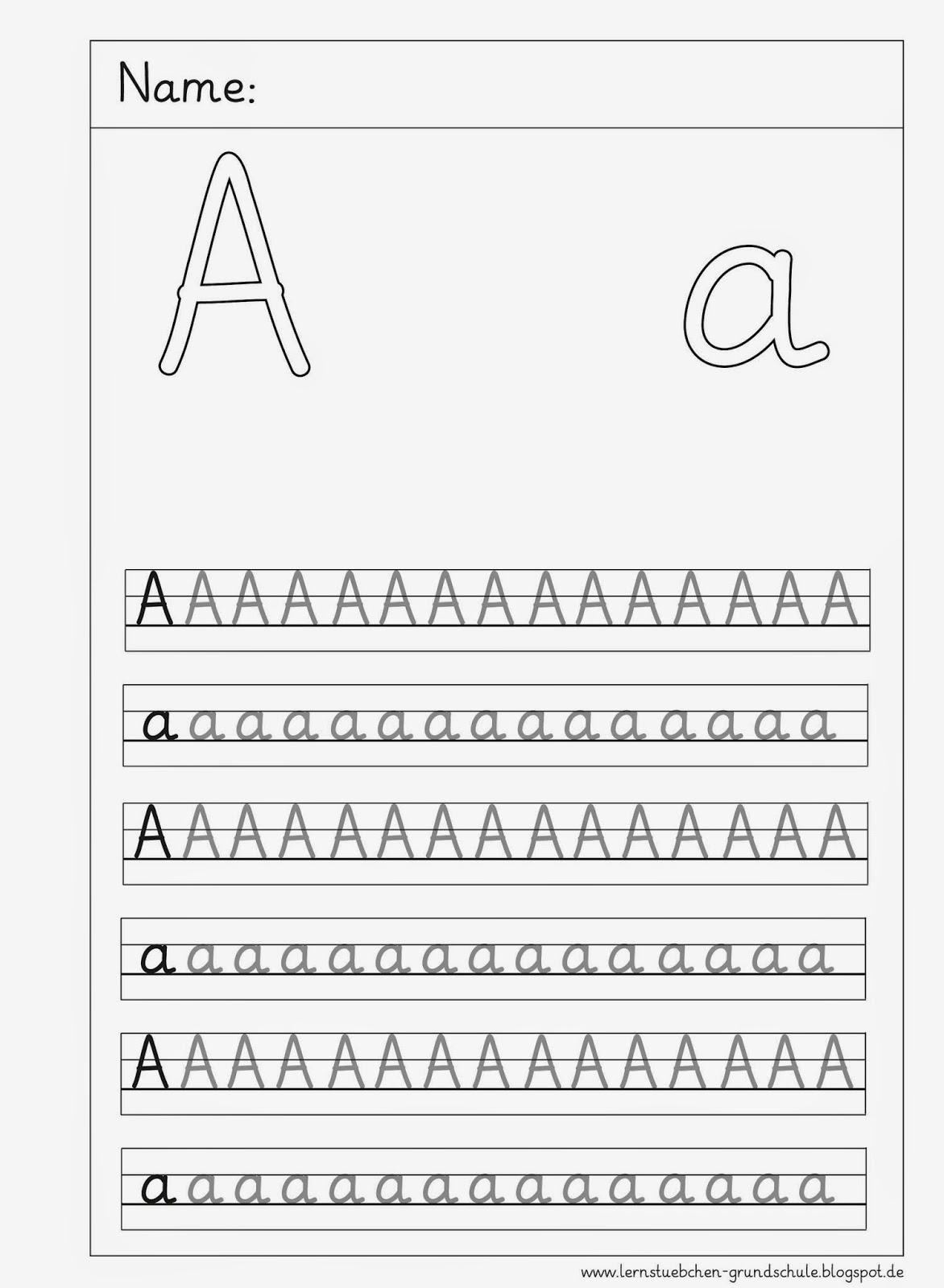 Lernstübchen: Schlichte Buchstabenschreibblätter Zum A A bei Grundschrift Arbeitsblätter
