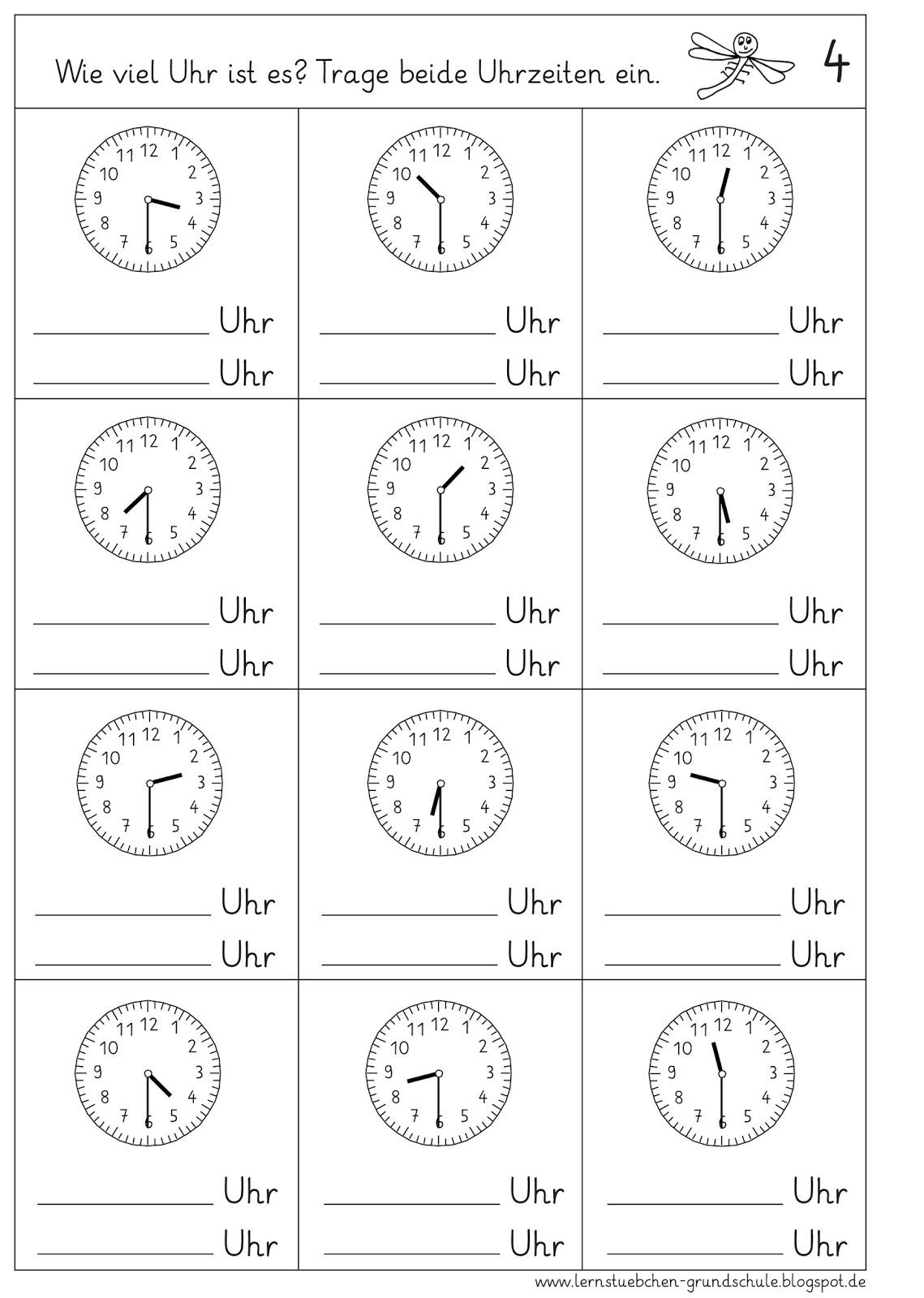 Lernstübchen: Uhrzeiten Ablesen - Halbe Stunden innen Uhrzeit Arbeitsblätter