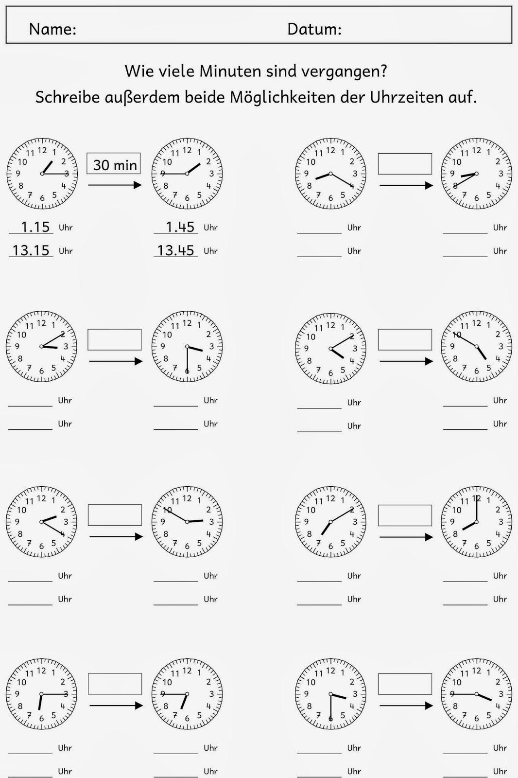 Lernstübchen: Zeitspannen (2) in Uhrzeit Lernen 2 Klasse