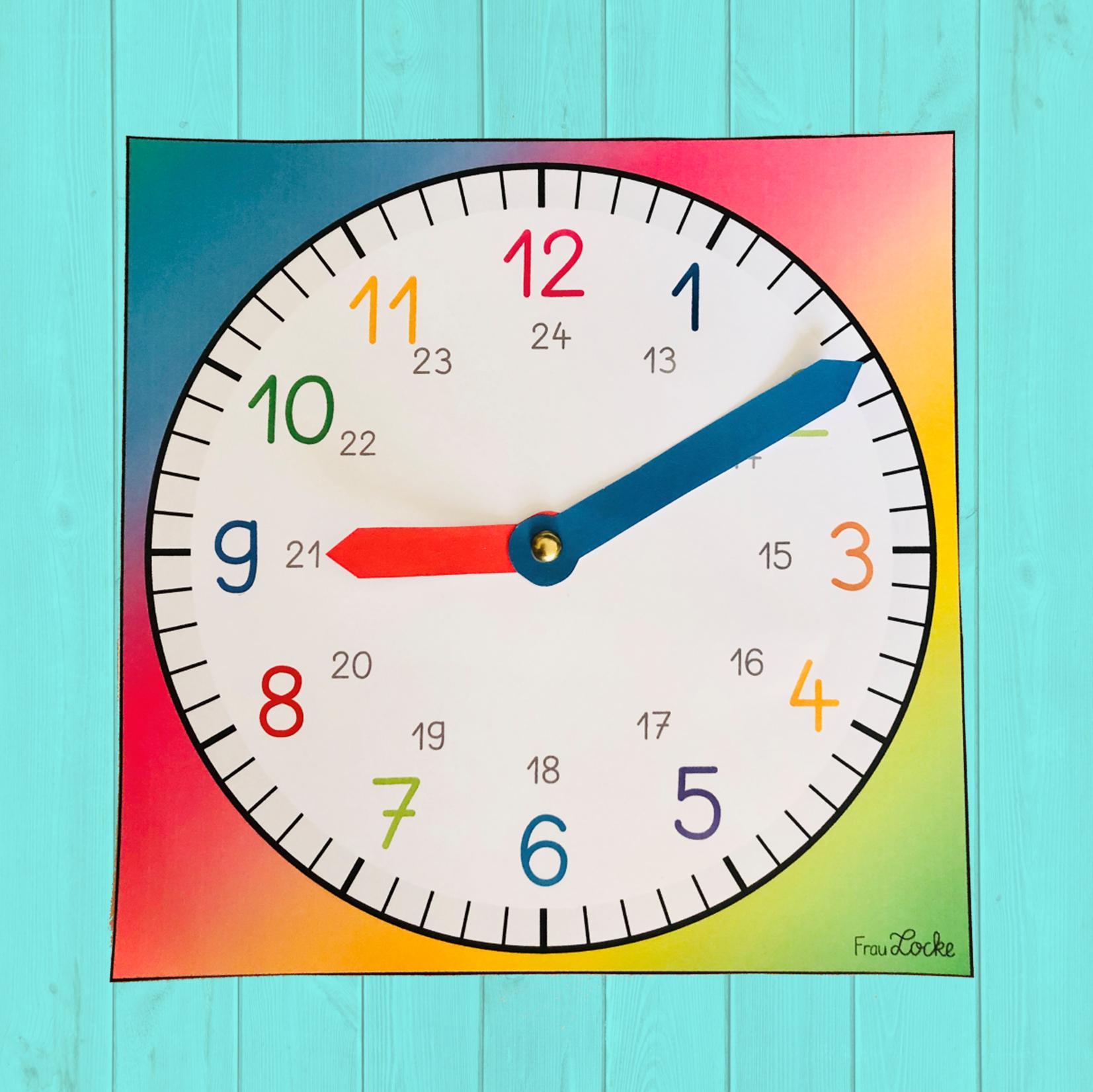 Lernuhr Bastelvorlage - Frau Locke mit Uhr Bastelvorlage