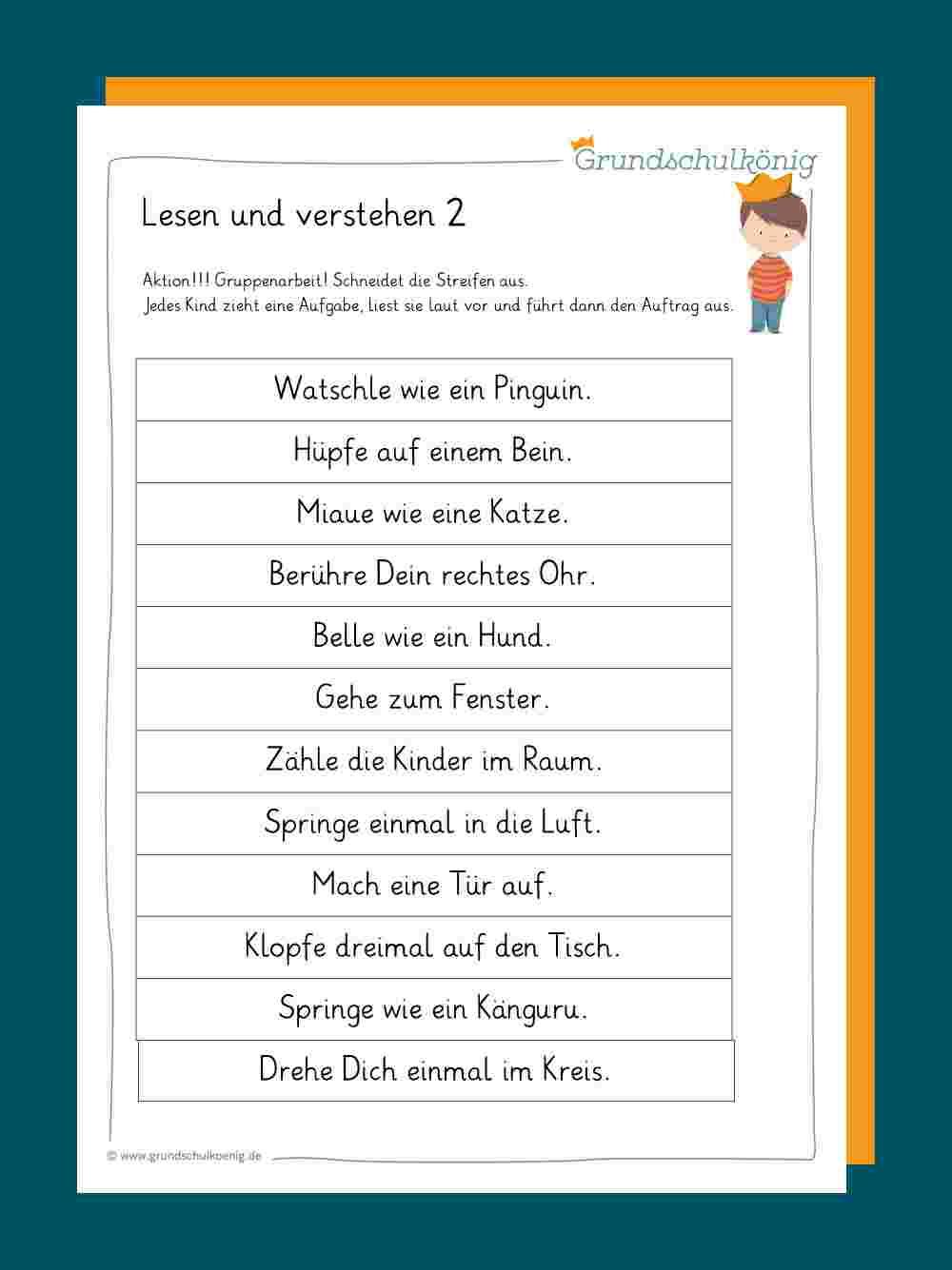Lesen Und Verstehen bei Deutsch 2 Klasse Volksschule Übungsblätter