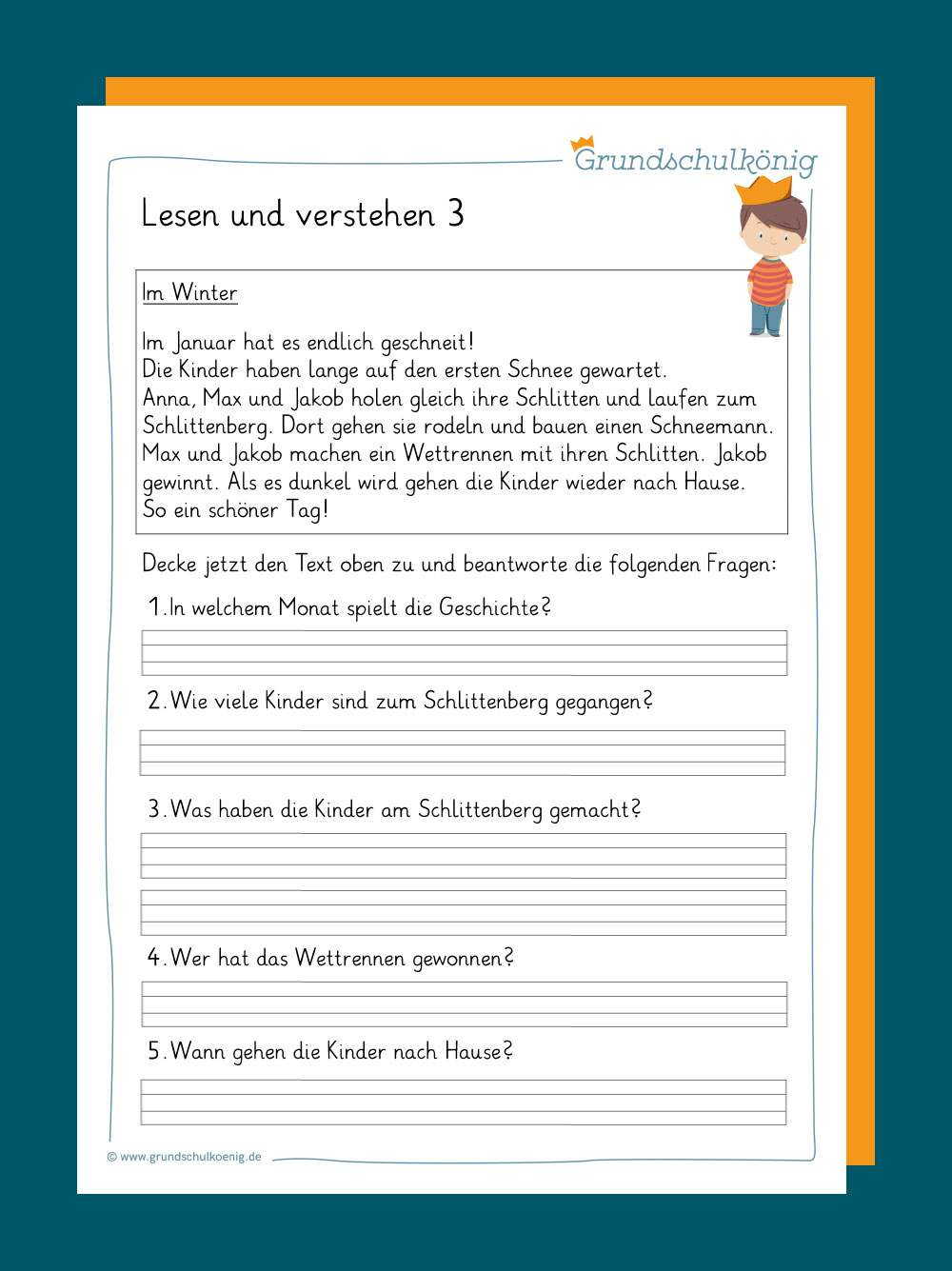 Lesen Und Verstehen ganzes Text Lesen Und Fragen Beantworten 3 Klasse