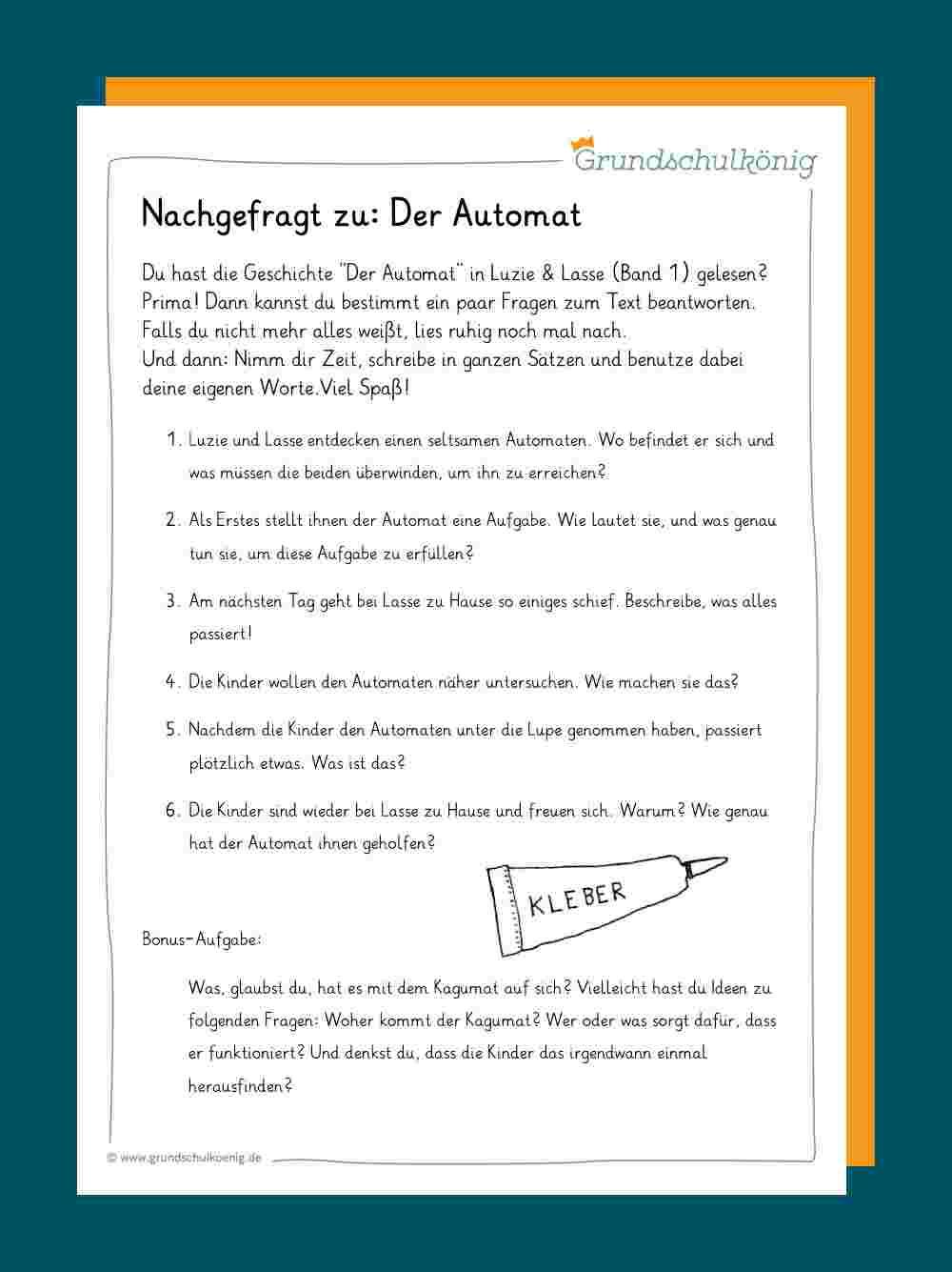 Leseverständnis: Fragen Zum Text verwandt mit Lesekompetenz 4 Klasse Arbeitsblätter Kostenlos