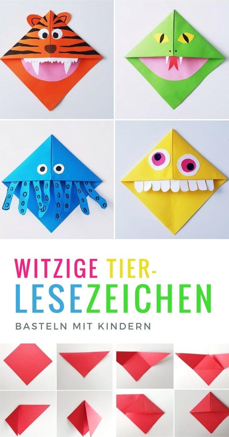 Lesezeichen Basteln: Monster Lesezeichen Falten Mit Kindern innen Basteln Mit Papier Für Kleinkinder