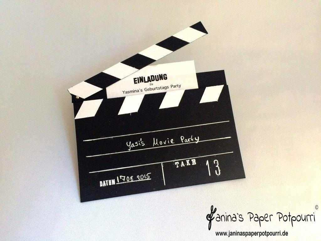 Let´s Go To The Movies!!! - Einladungskarte Filmklappe bei Filmklappe Einladung Vorlage Kostenlos