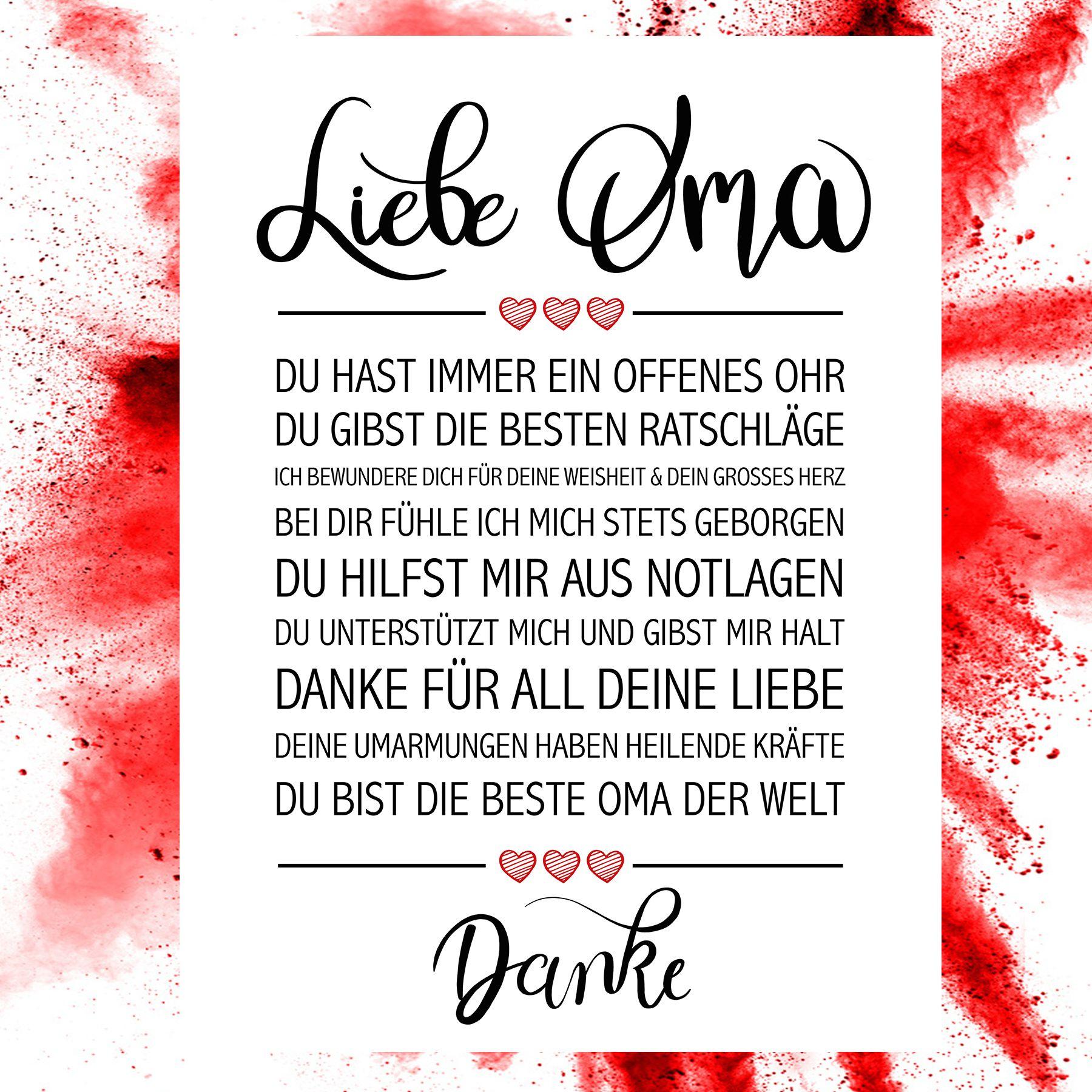 Liebe Oma Kunstdruck (Mit Bildern) | Sprüche Für Oma in Für Die Beste Oma Der Welt Gedichte