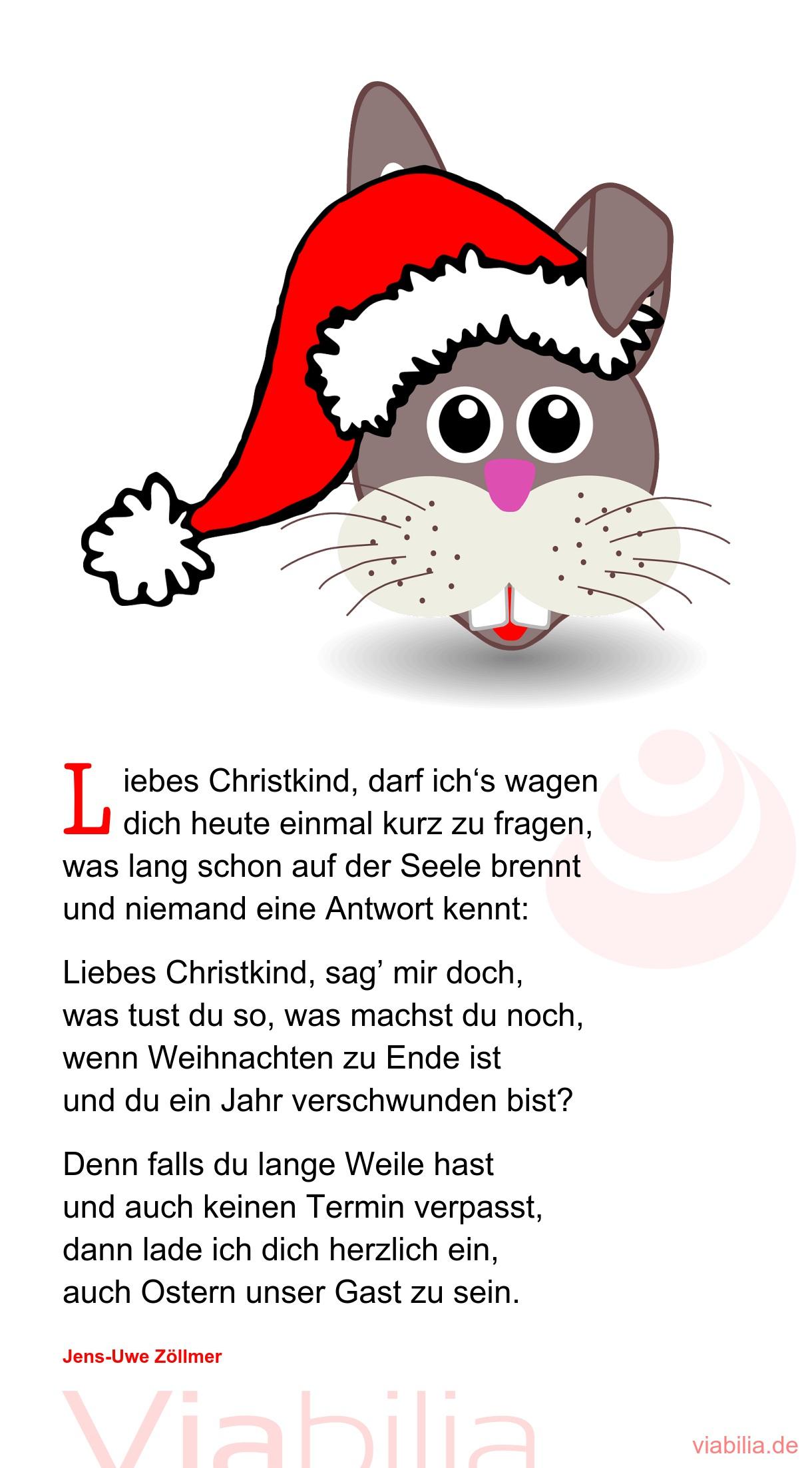Liebes Christkind, Darf Ich's Wagen  - Weihnachtsgedicht für Weihnachtsgedichte Grundschule
