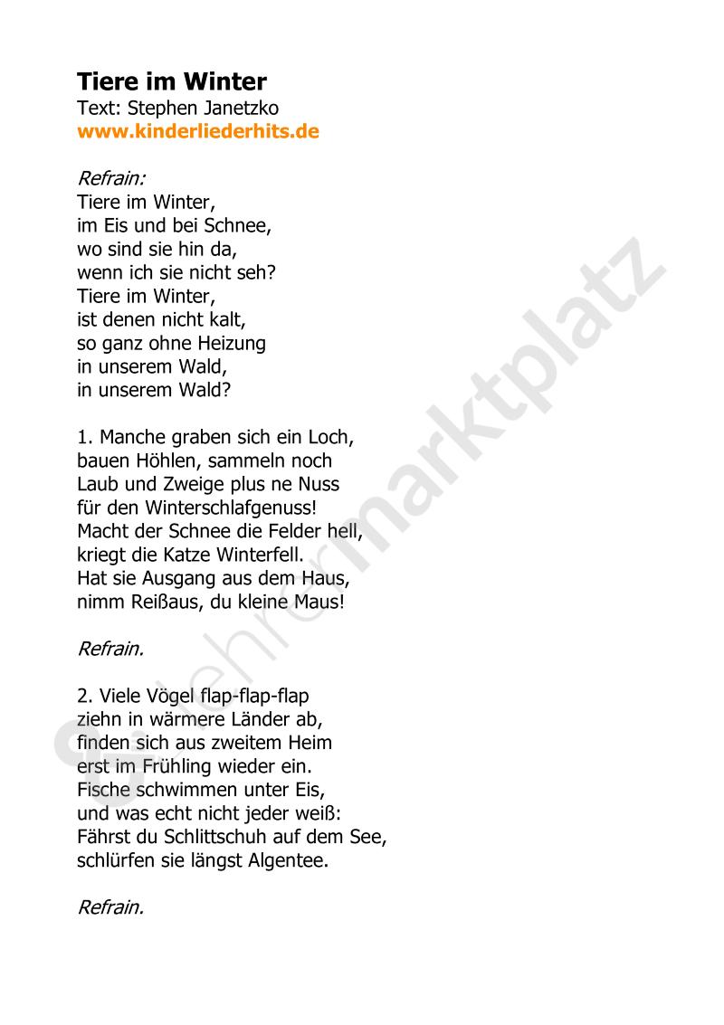 Lied Tiere Im Winter – Unterrichtsmaterial In Den Fächern in Gedicht Winter Grundschule
