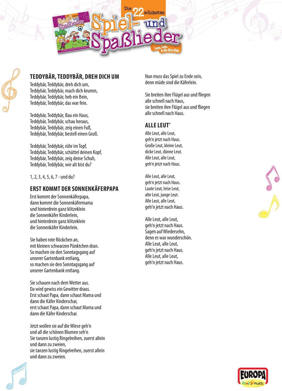 Liedtexte Zum Ausdrucken & Mitsingen - Pdf Free Download mit Unser Kleiner Bär Im Zoo Noten