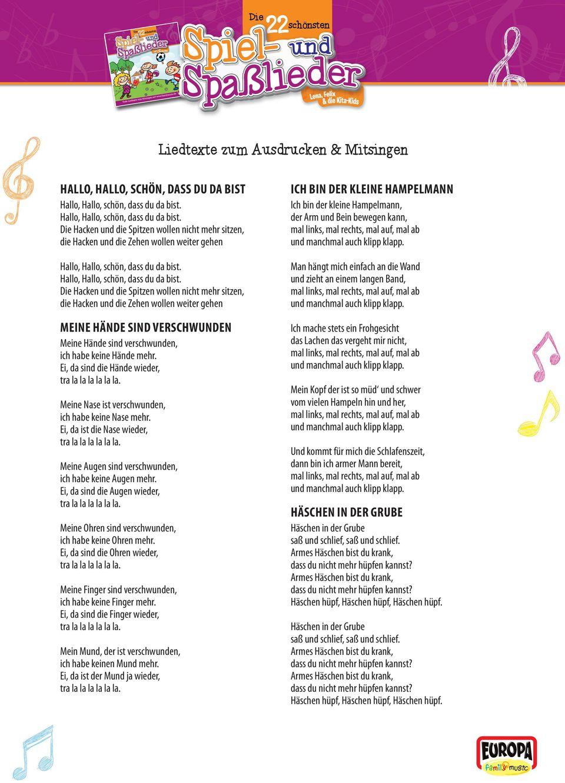 Liedtexte Zum Ausdrucken & Mitsingen - Pdf Free Download über Unser Kleiner Bär Im Zoo Noten