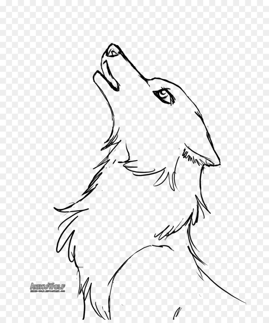 Line Art Grauer Wolf Welpe Baby-Wölfe Zeichnen - Basierend bei Wölfe Zeichnen