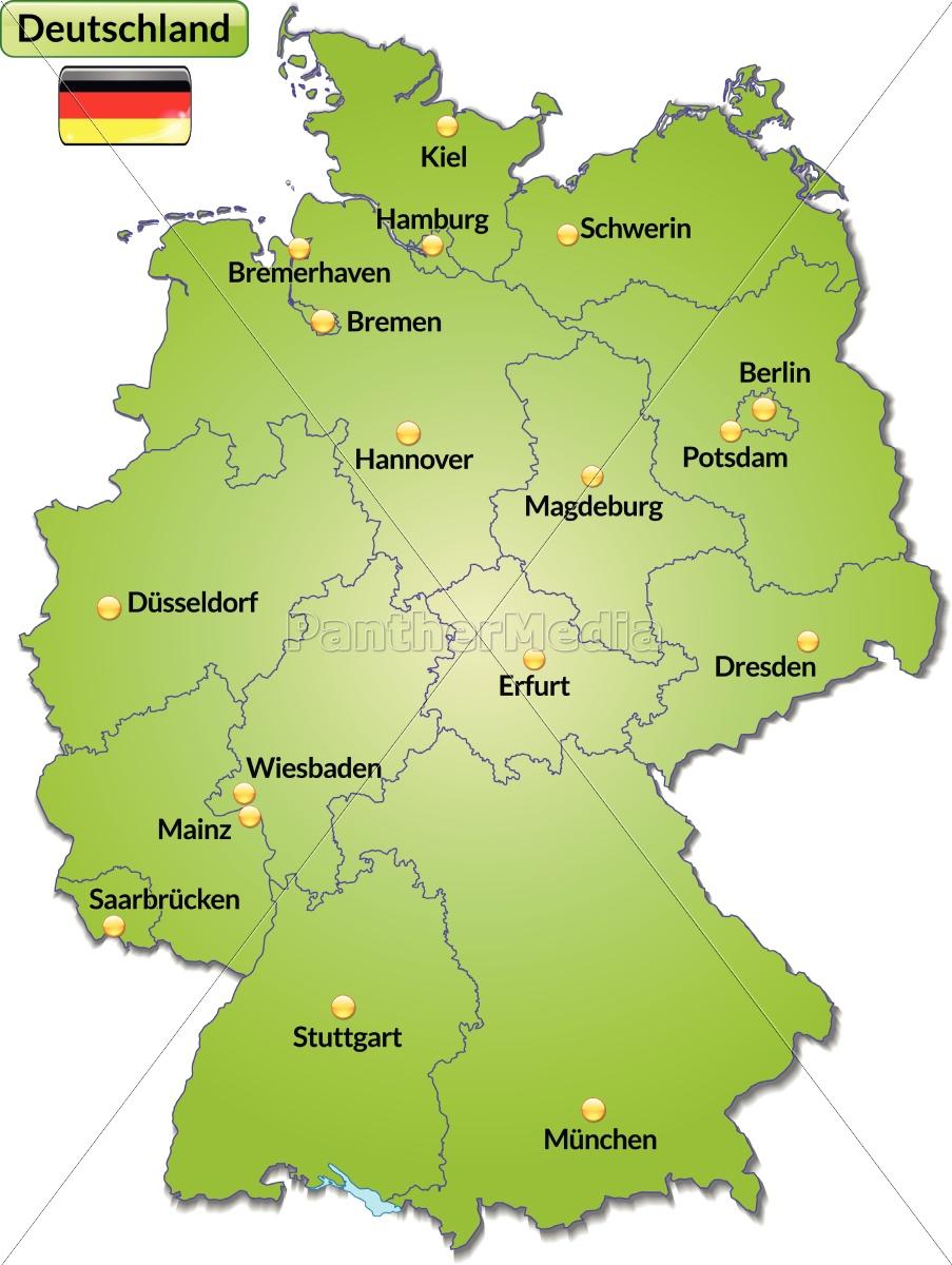 Lizenzfreie Vektorgrafik 10629235 - Karte Von Deutschland Mit Hauptstädten  In Grün verwandt mit Bundesländer Deutschland Mit Hauptstädten Karte