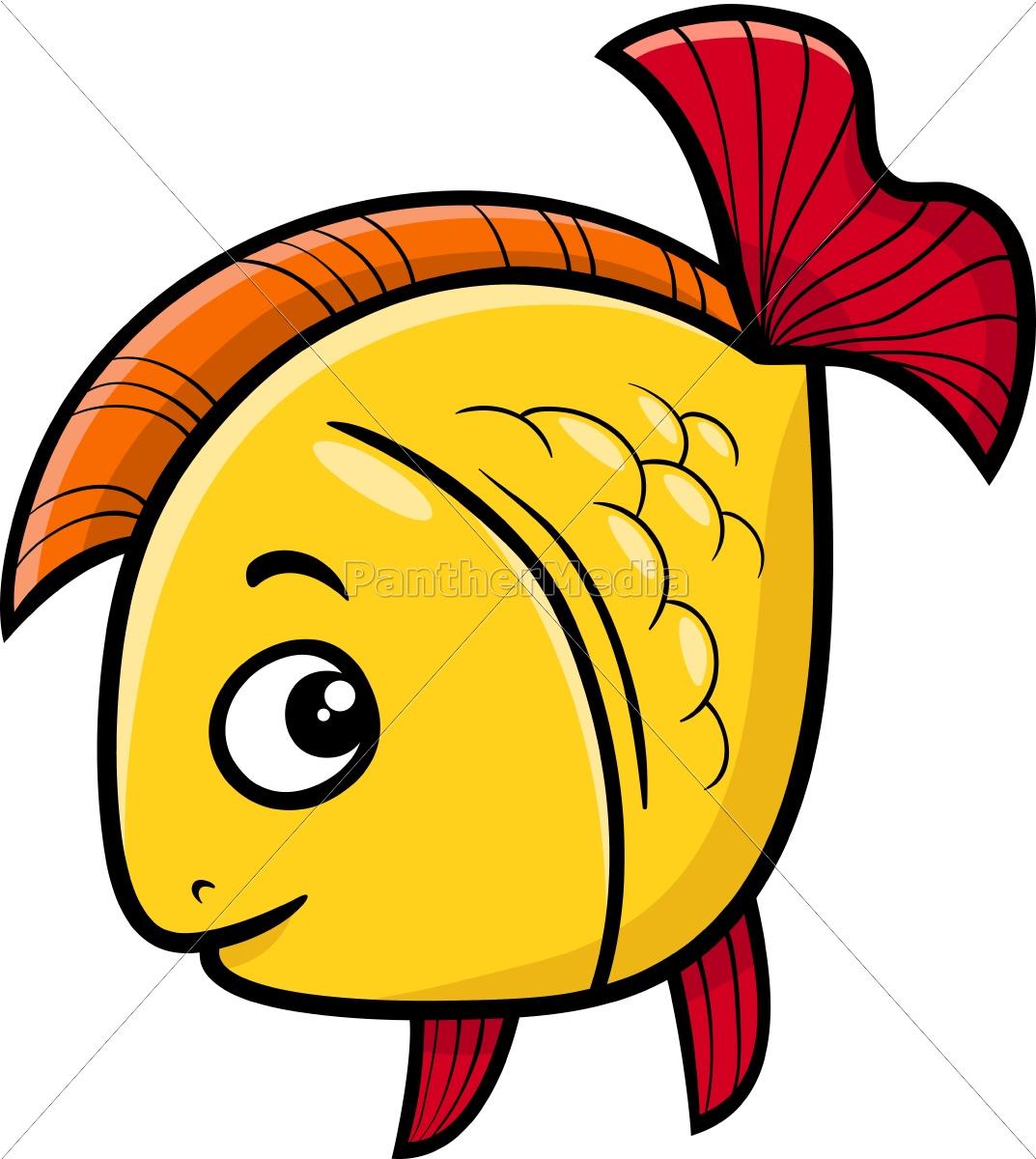 Lizenzfreie Vektorgrafik 14565779 - Goldener Fisch Cartoon Abbildung innen Fische Comic