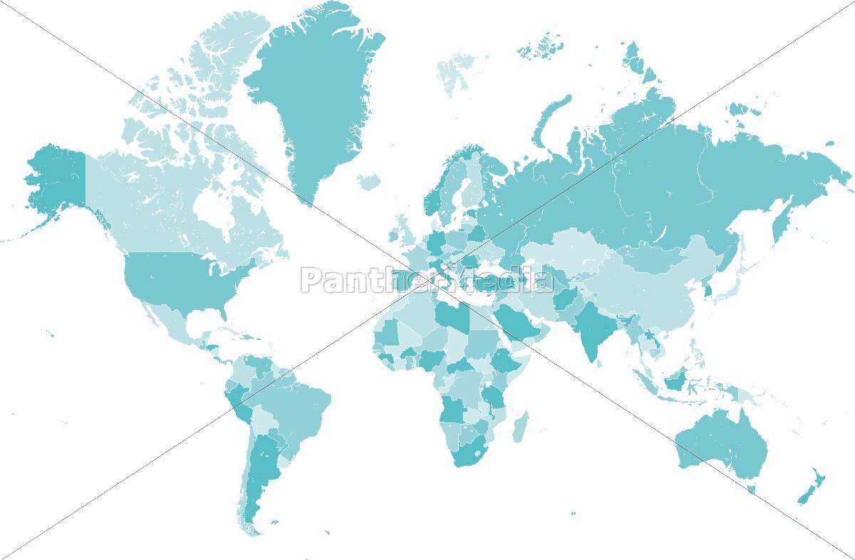 Lizenzfreie Vektorgrafik 14841925 - Welt Karte Blau Mit Länder Grenzen  Vektor Grafik innen Länder Der Welt Karte