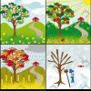 Lizenzfreies Bild 1928203 - Vier Jahreszeiten Baum Auf Einem Hügel Mit  Einem Haus verwandt mit 4 Jahreszeiten Baum