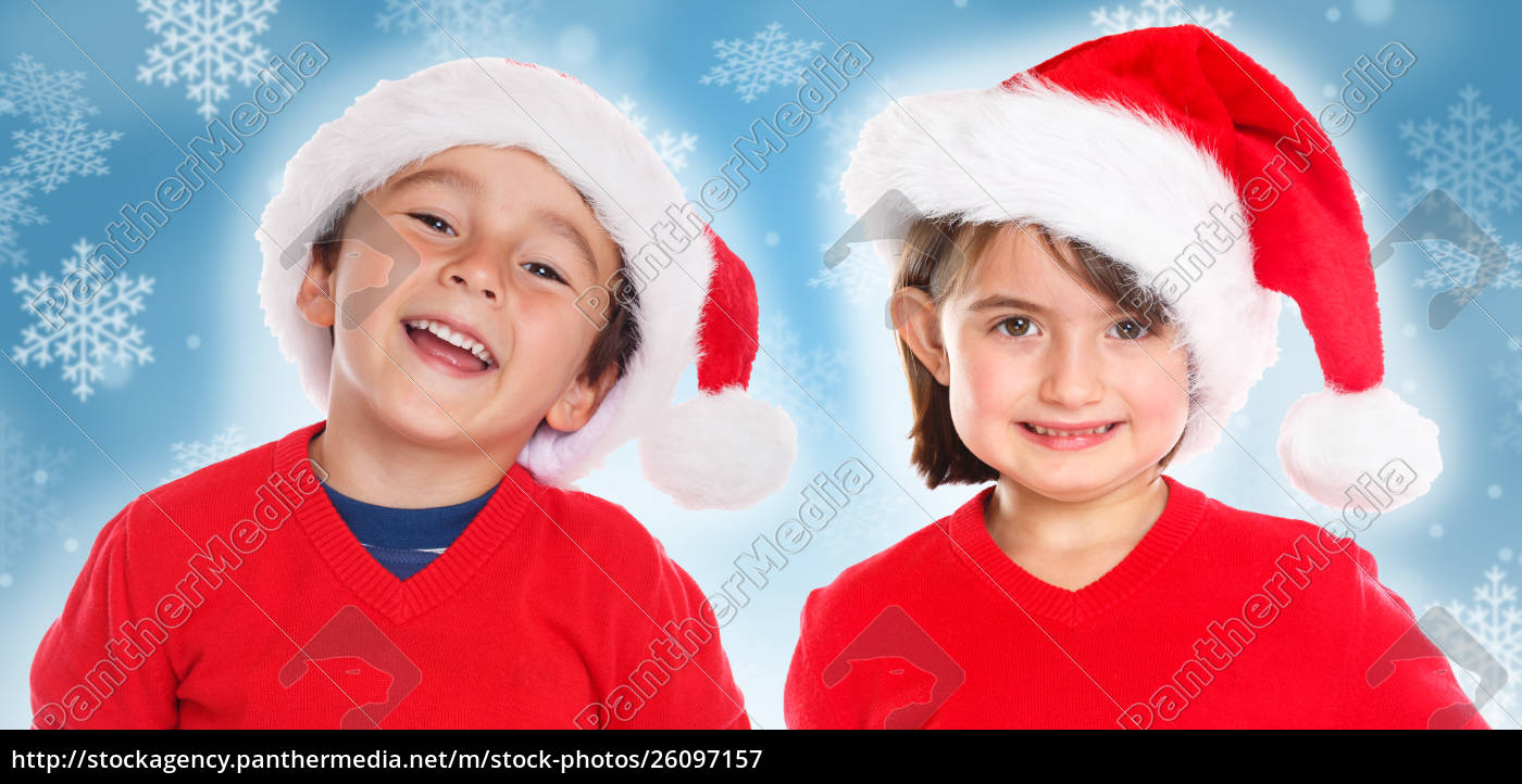 Lizenzfreies Bild 26097157 - Kinder Kinder Junge Mädchen Weihnachtsmann  Lächeln Glücklich mit Weihnachtsmann Kinder