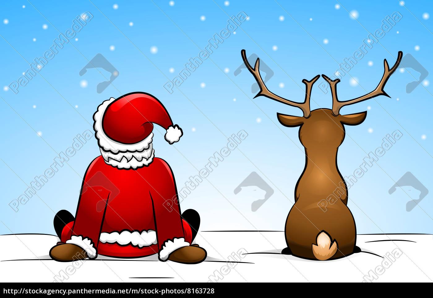 Lizenzfreies Foto 8163728 - Weihnachtsmann Und Rentier Im Schnee Sitzend bei Nikolaus Rentiere