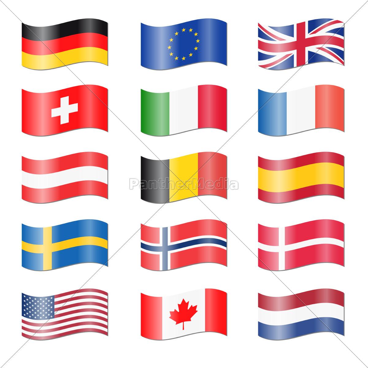 Lizenzfreies Foto 9524972 - Set Länder Flaggen Geschwungen in Flaggen Der Eu Länder