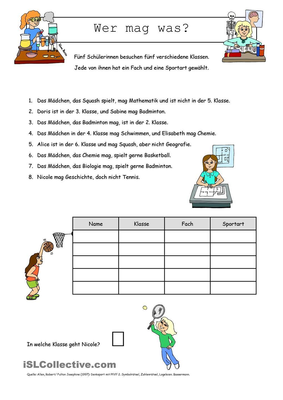 Logical _ Wer Mag Was? (Mit Bildern)   Schreibübungen innen Übungen Logisches Denken Zum Ausdrucken