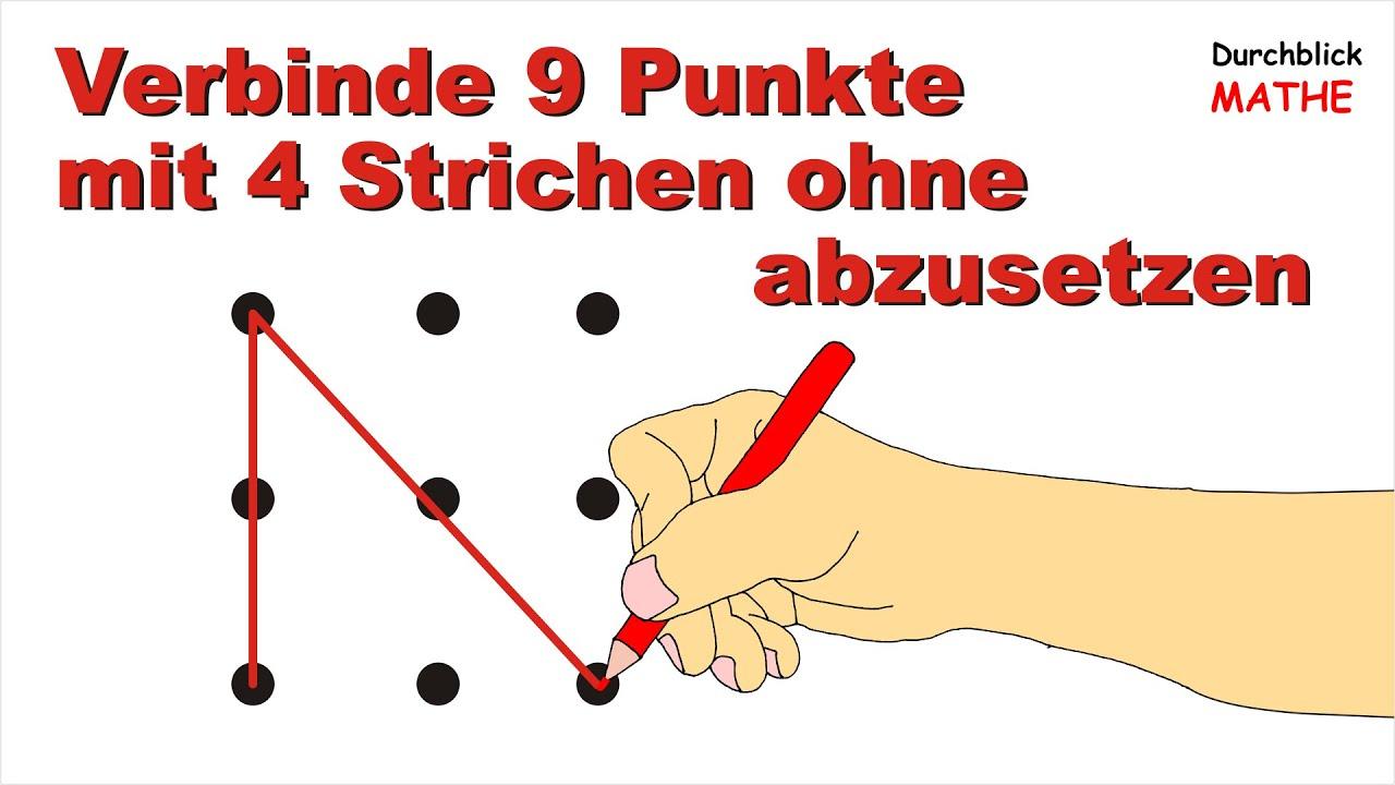 Lösung: 9 Punkte Mit 4 Strichen Ohne Abzusetzen Verbinden in Bilder Aus Strichen