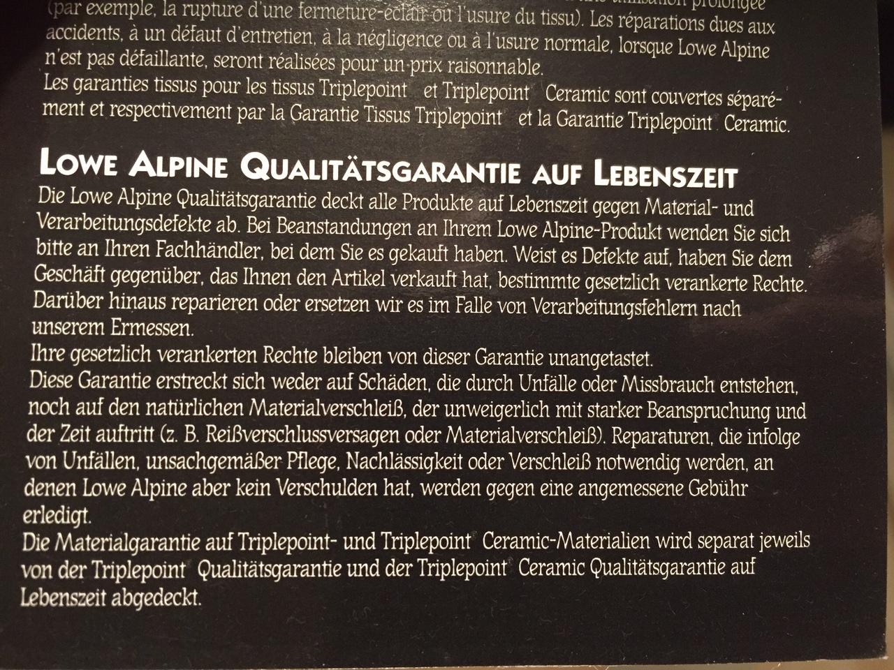 Lowe Alpine Qualitätsgarantie Auf Lebenszeit – Der Zornige verwandt mit Eastpak Rucksack Lebenslange Garantie