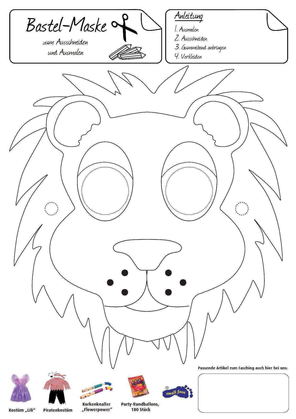 Löwen-Maske. Diese Maske Macht Sie Stolz, Wie Ein Löwe verwandt mit Tiermasken Basteln Vorlagen Ausdrucken