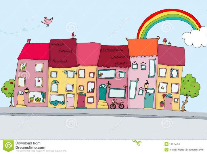 Lustige Häuser In Der Glücklichen Stadt Stock Abbildung bei Lustige Häuser Bilder
