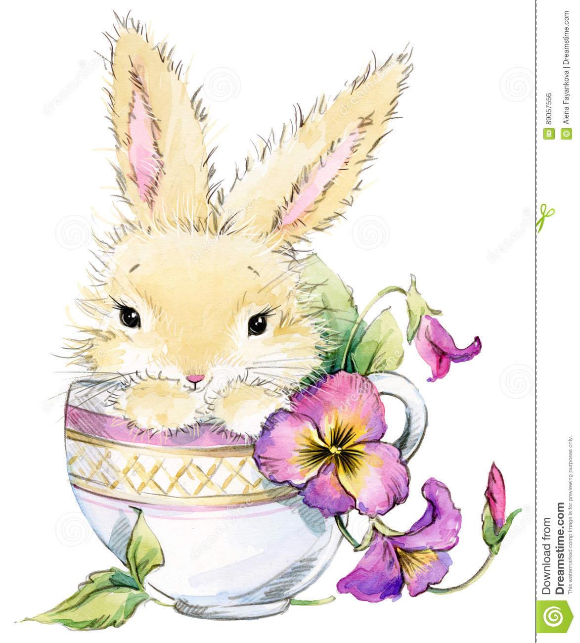 Lustige Kaninchen- Und Blumenaquarellillustration Stock verwandt mit Lustige Hasen Bilder Kostenlos
