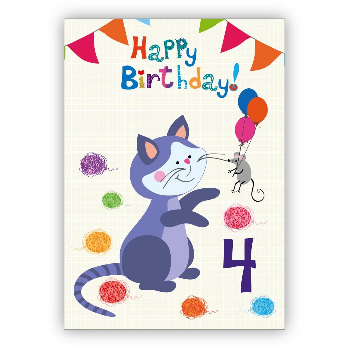 Lustige Kinder Geburtstagskarte Zum 4. Geburtstag Mit Katz Und Maus: Happy  Birthday über Kindergeburtstagskarte