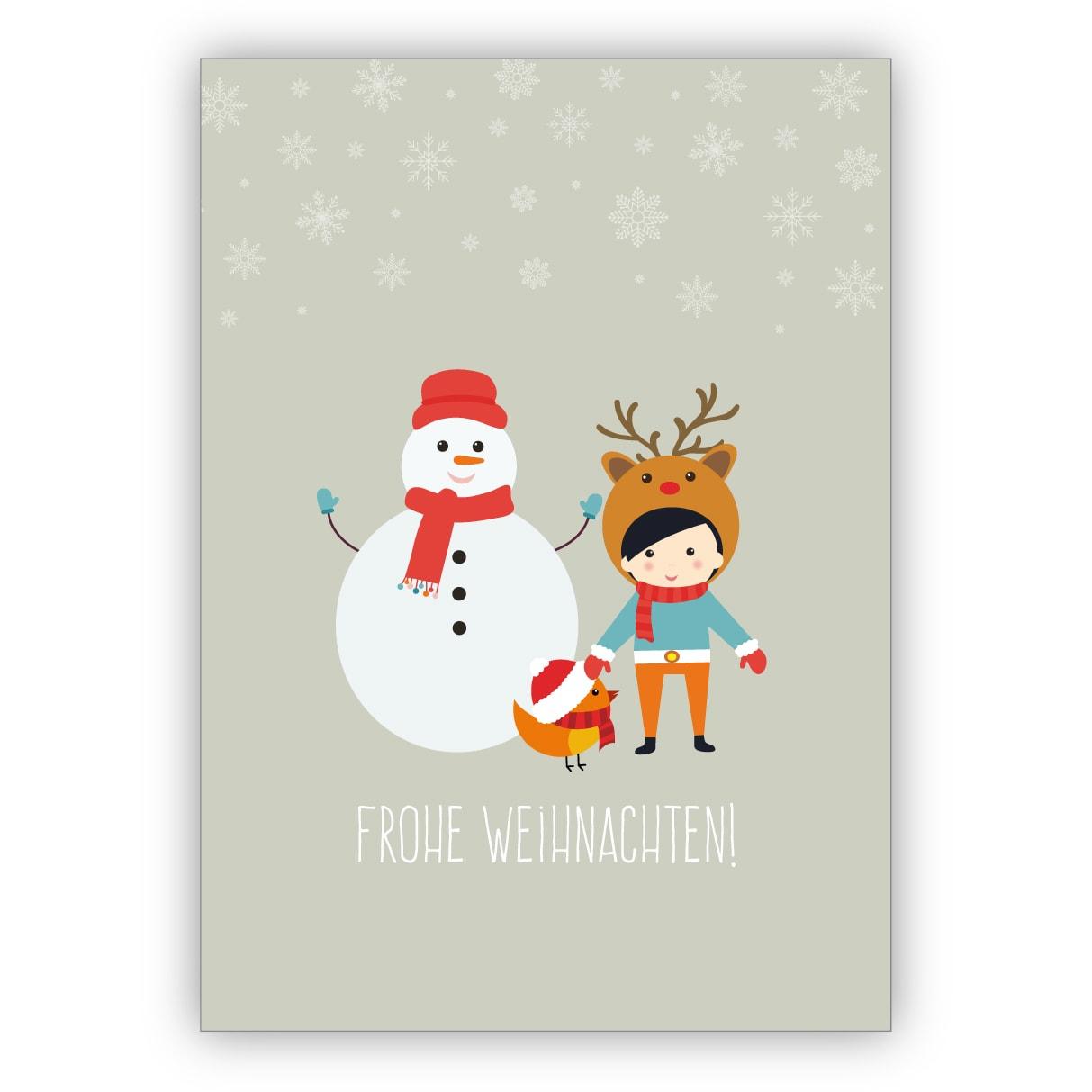 Lustige Kinder Weihnachtskarte Mit Schneemann: Frohe Weihnachten für Weihnachtskarte Für Kinder