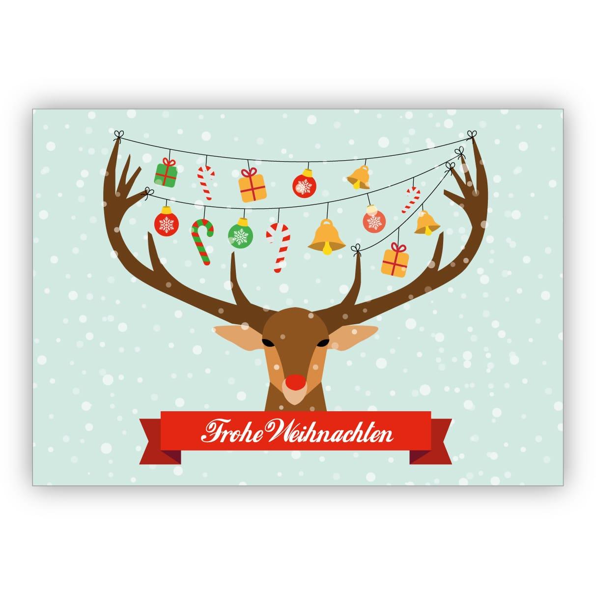 Lustige Weihnachtskarte Mit Geschmücktem Weihnachts Hirsch: Frohe  Weihnachten mit Weihnachten Bilder Lustig