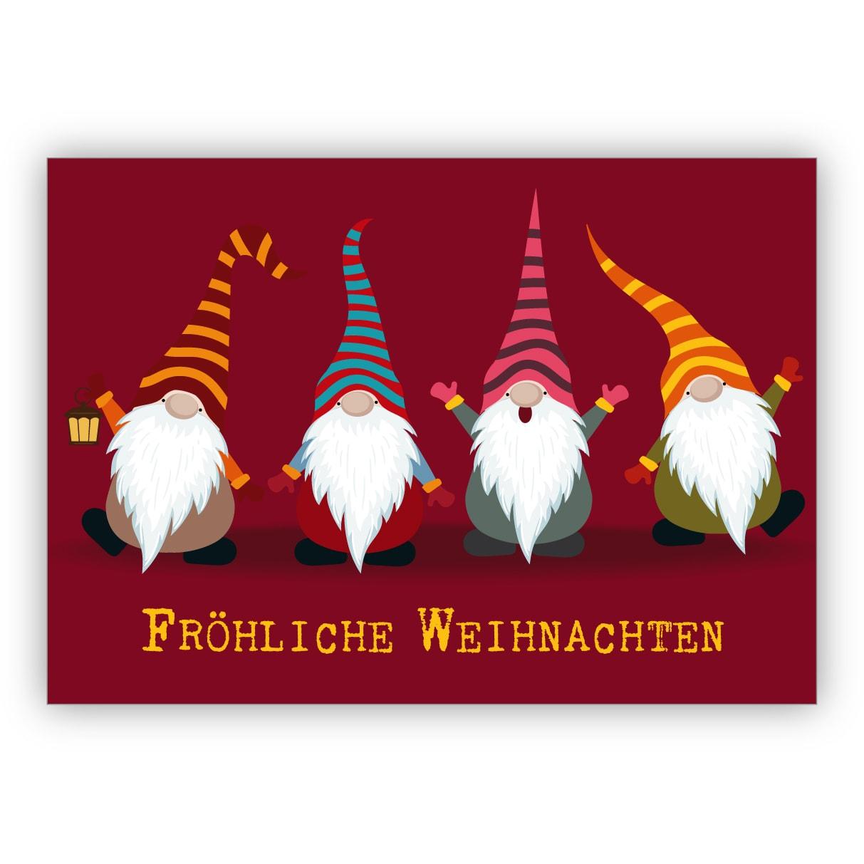 Lustige Weihnachtskarte Mit Süßen, Bunten Wichteln: Fröhliche Weihnachten bei Weihnachten Bilder Lustig