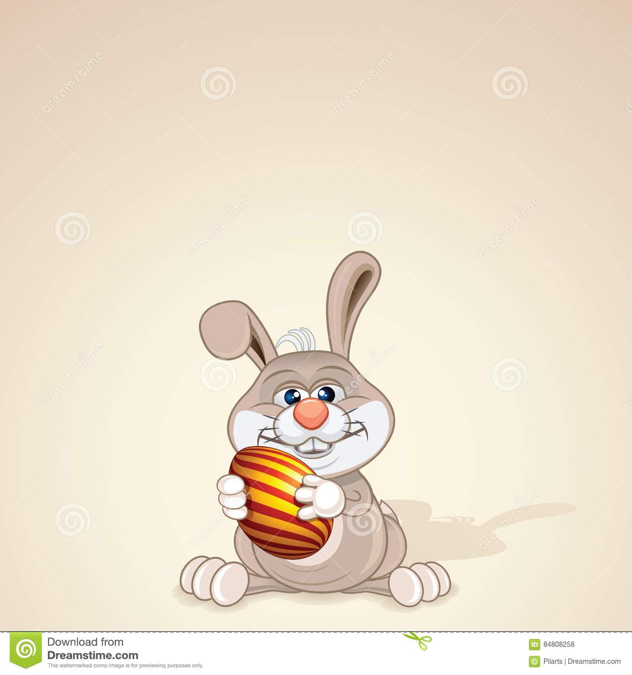 Lustiger Osterhase Mit Gemaltem Ei Vektor Vektor Abbildung bei Lustiger Osterhase